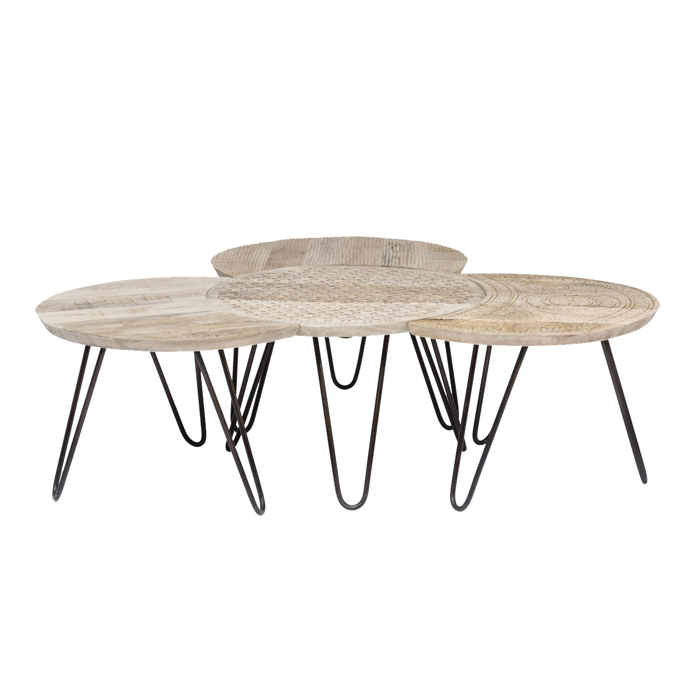 4 tables basses en manguier massif sculpté
