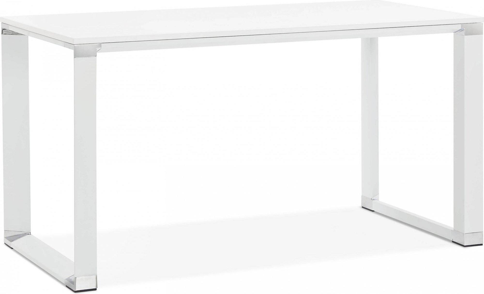 Bureau desgn plateau en bois blanc pieds métal laqué blanc