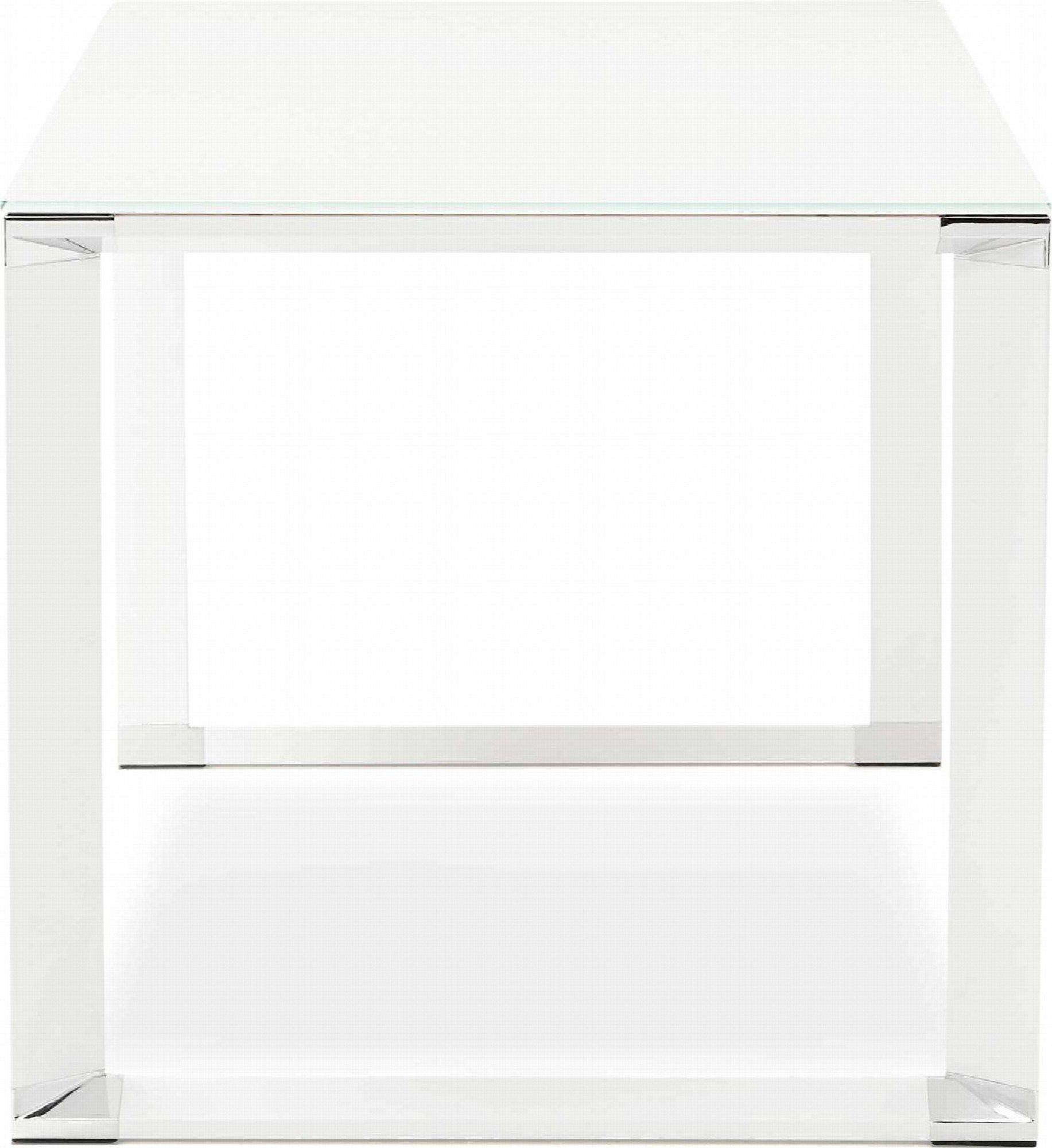 Bureau desgn plateau en verre blanc pieds métal laqué blanc