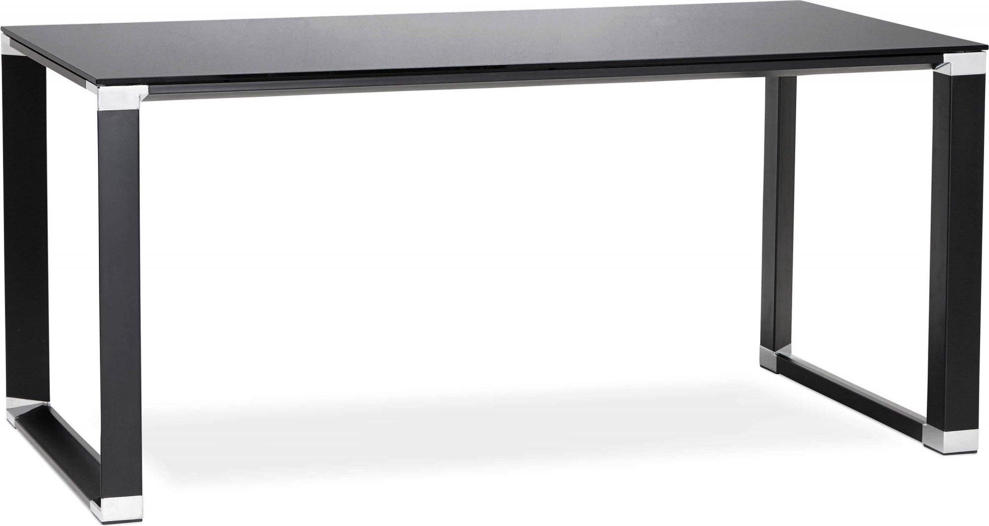 maison du monde Bureau desgn plateau en verre noir pieds métal laqué noir