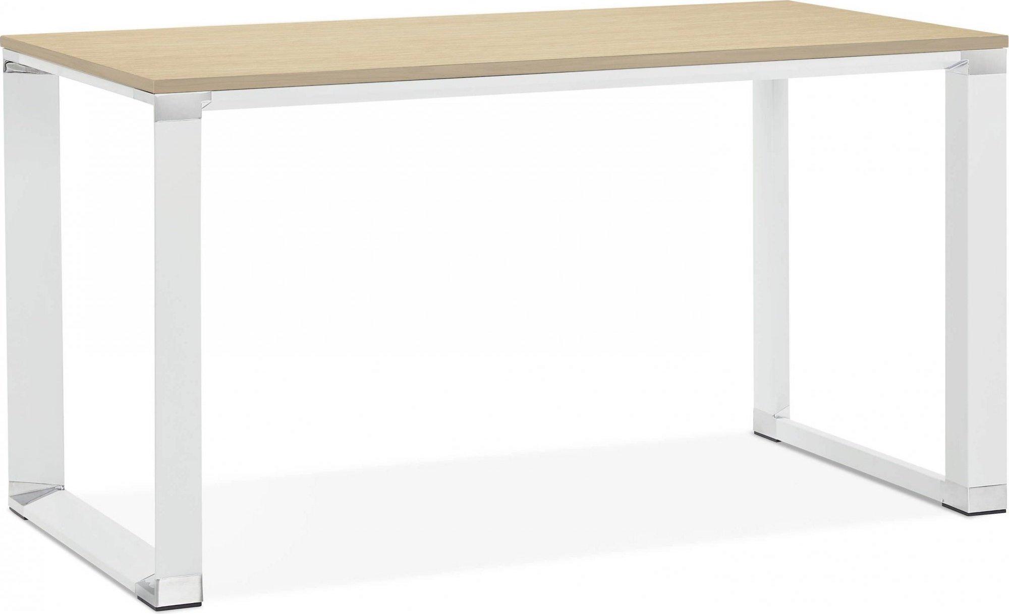 maison du monde Bureau desgn plateau en bois clair pieds métal laqué blanc