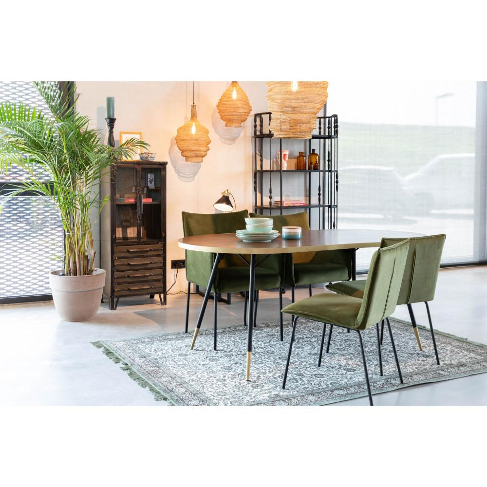 Table à manger 180x90cm métal  et  bois foncé