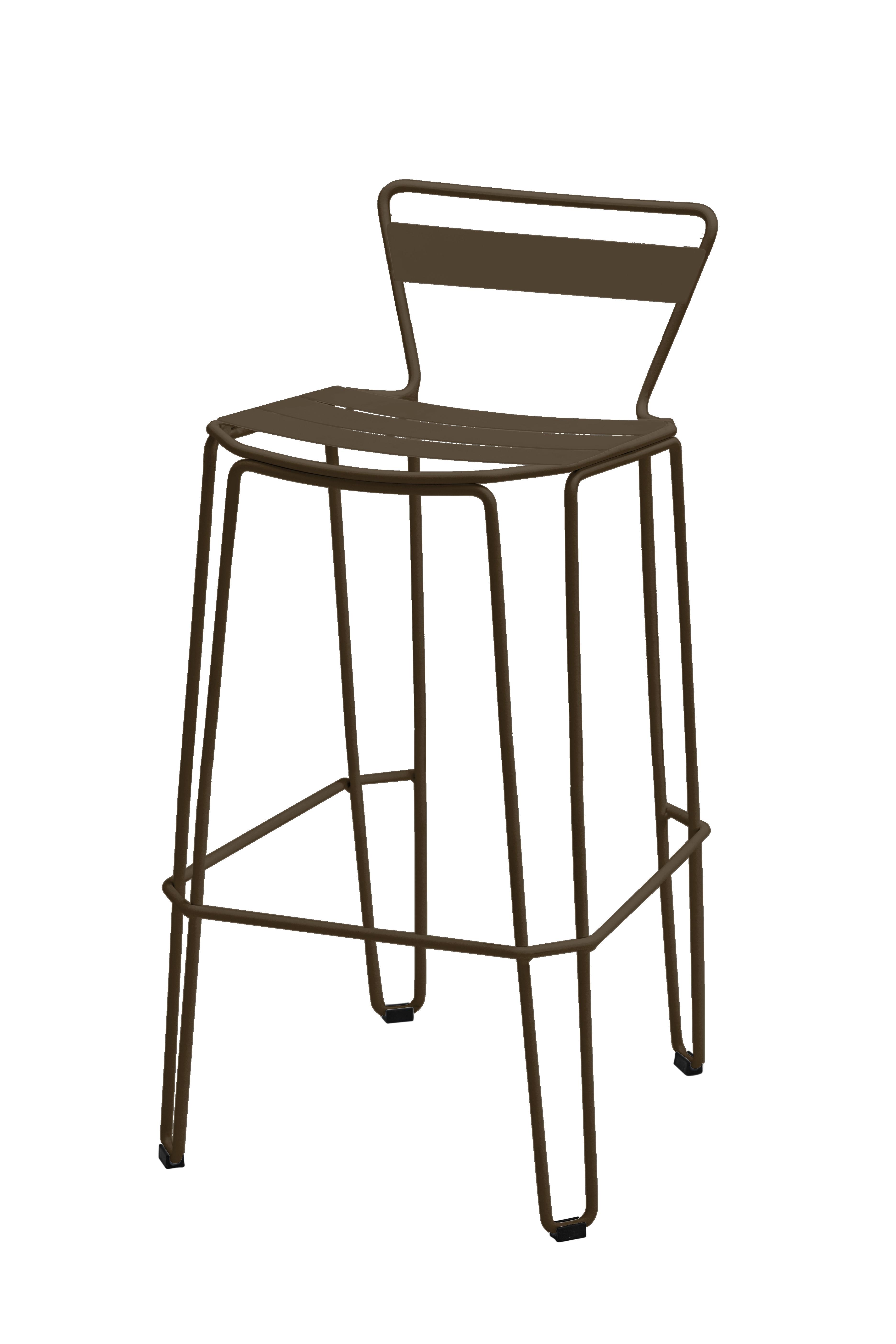 MALLORCA - Chaise haute en acier gris taupe