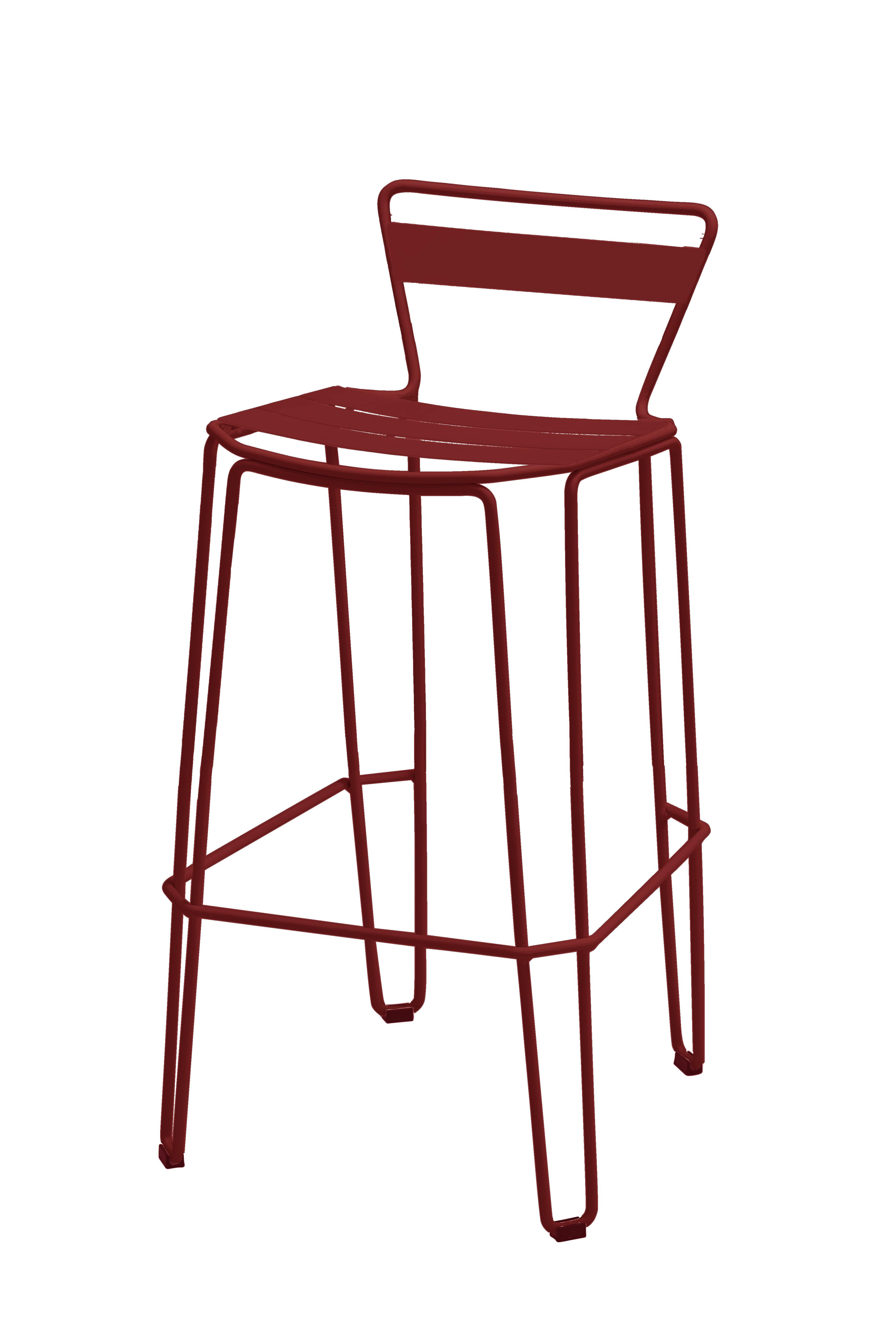 MALLORCA - Chaise haute en acier rouge