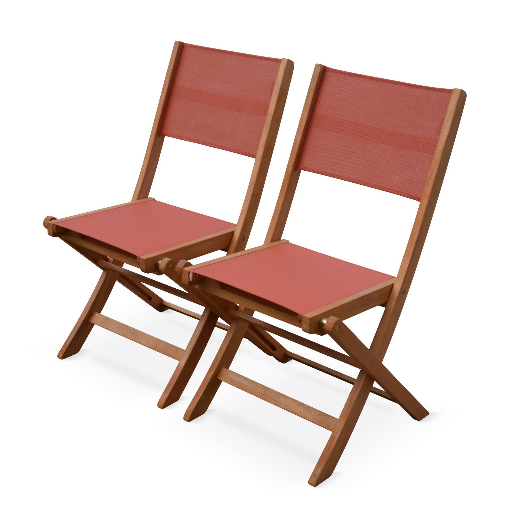 Lot de 2 chaises de jardin en bois terracotta