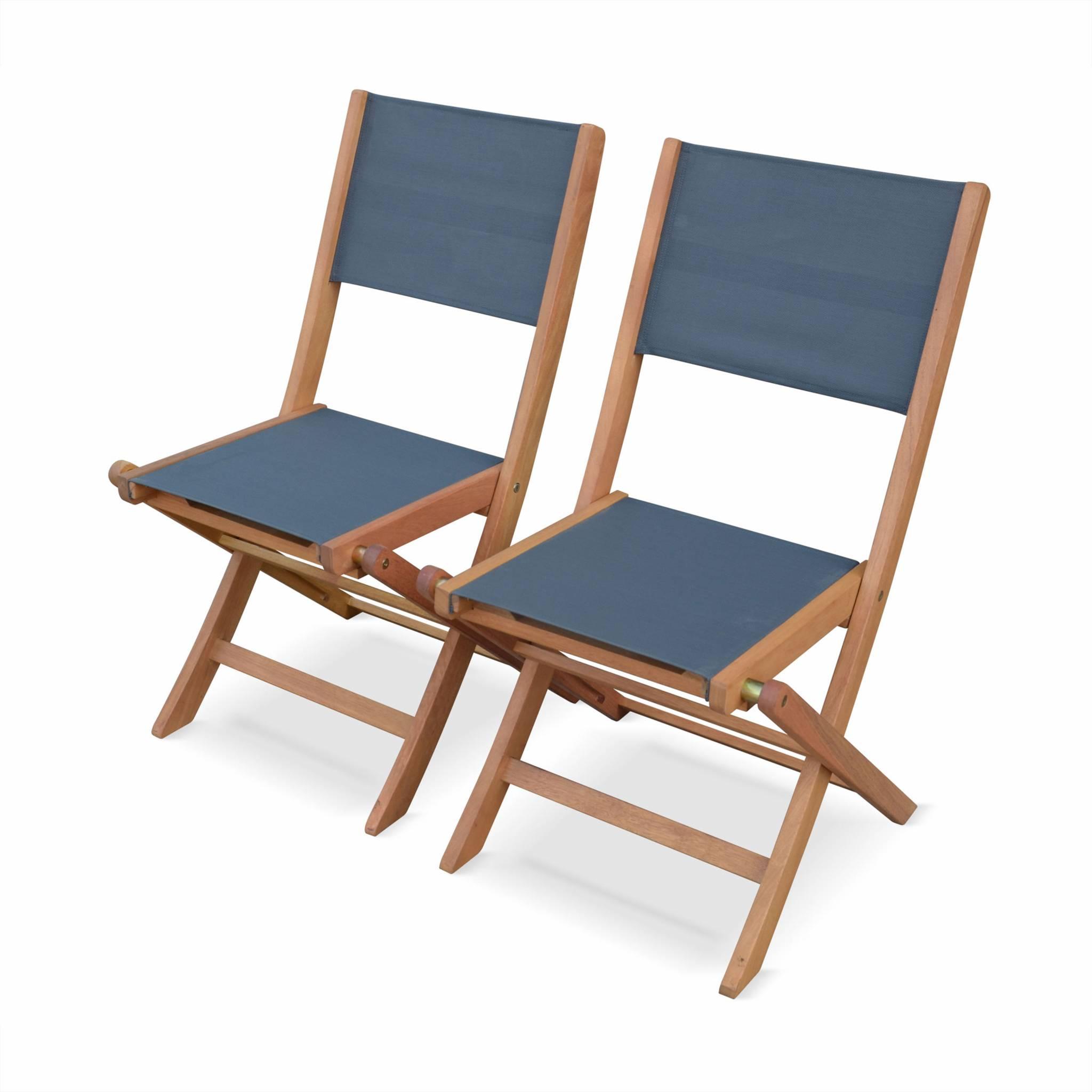 Lot de 2 chaises de jardin en bois anthracite