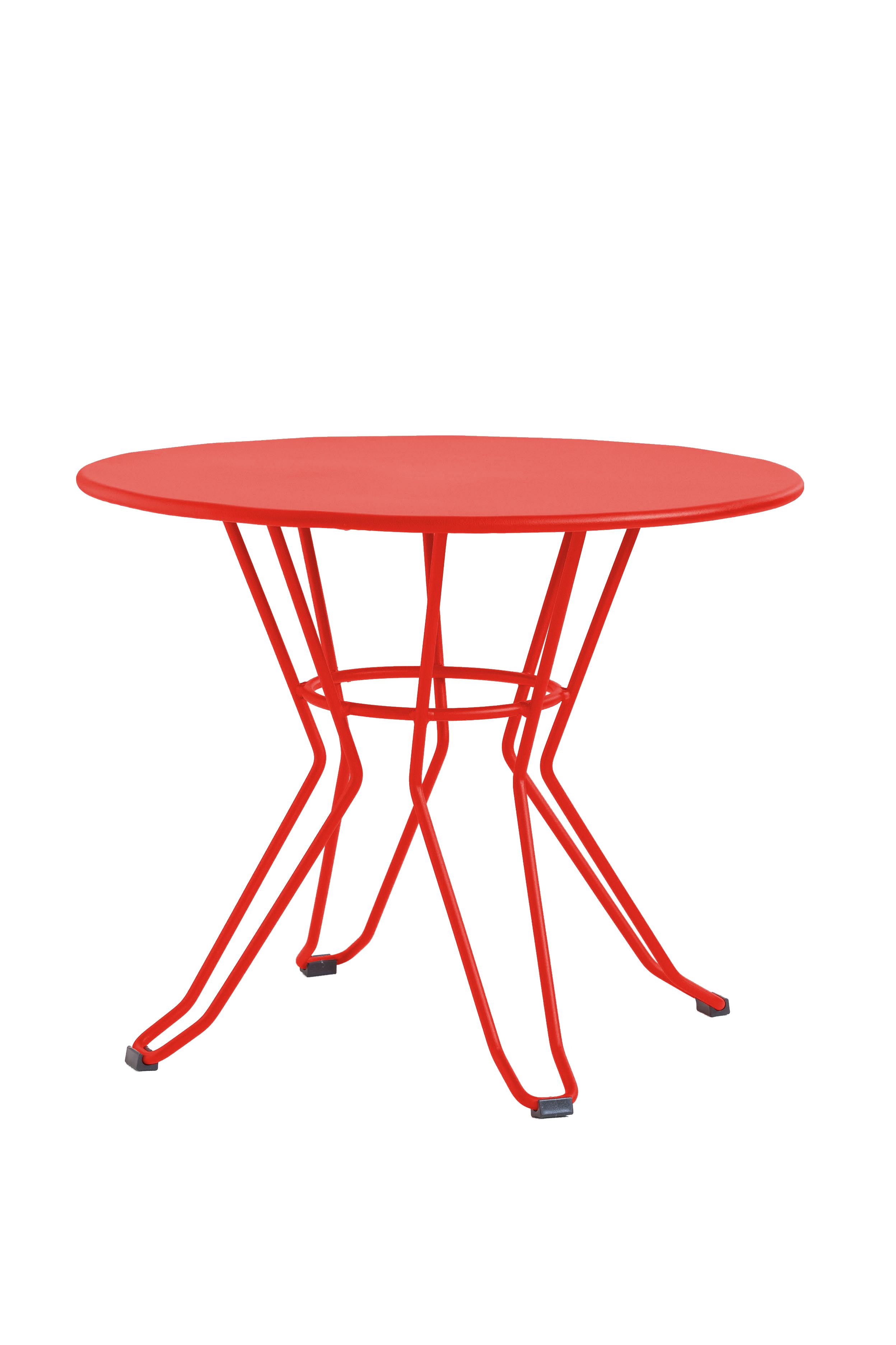CAPRI - Table basse en acier rouge D60
