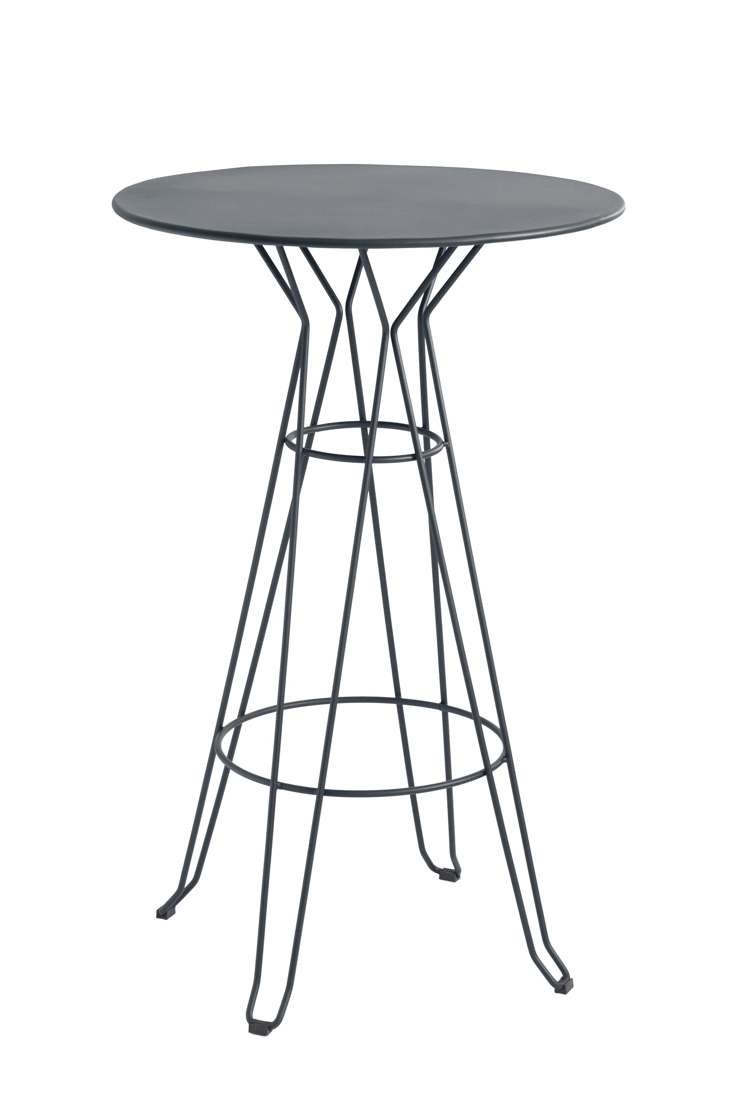 CAPRI - Table rond haute en acier gris D80