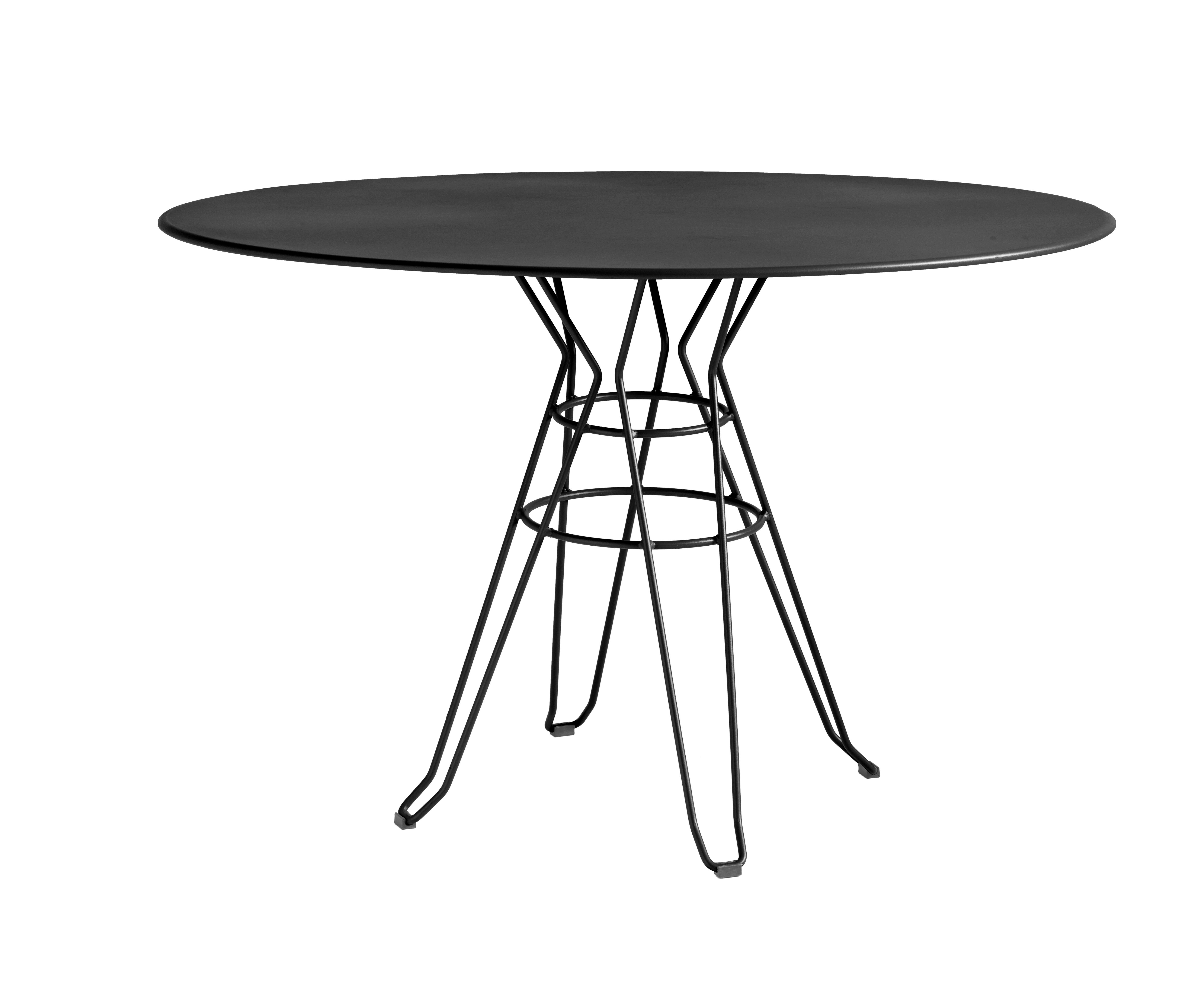 CAPRI - Table rond en acier gris D110