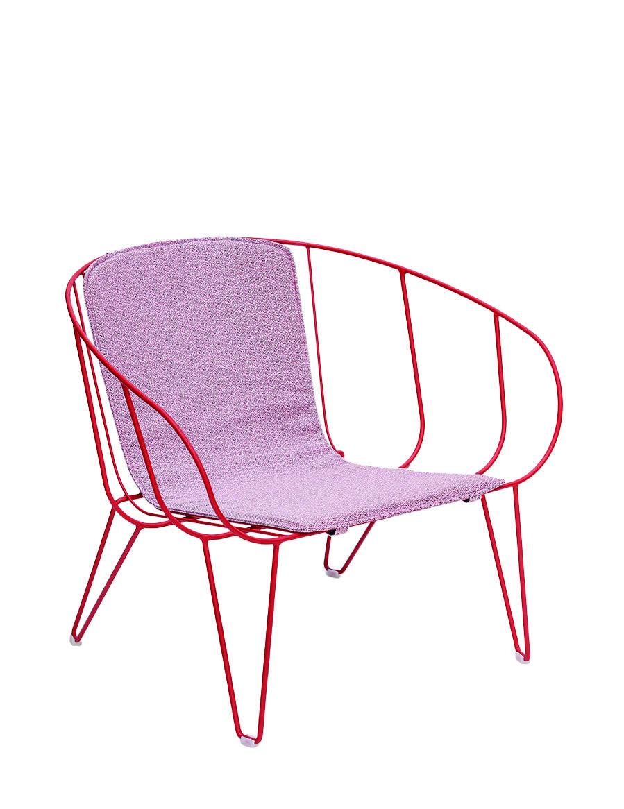 OLIVO - Fauteuil lounge avec coussin en acier rouge