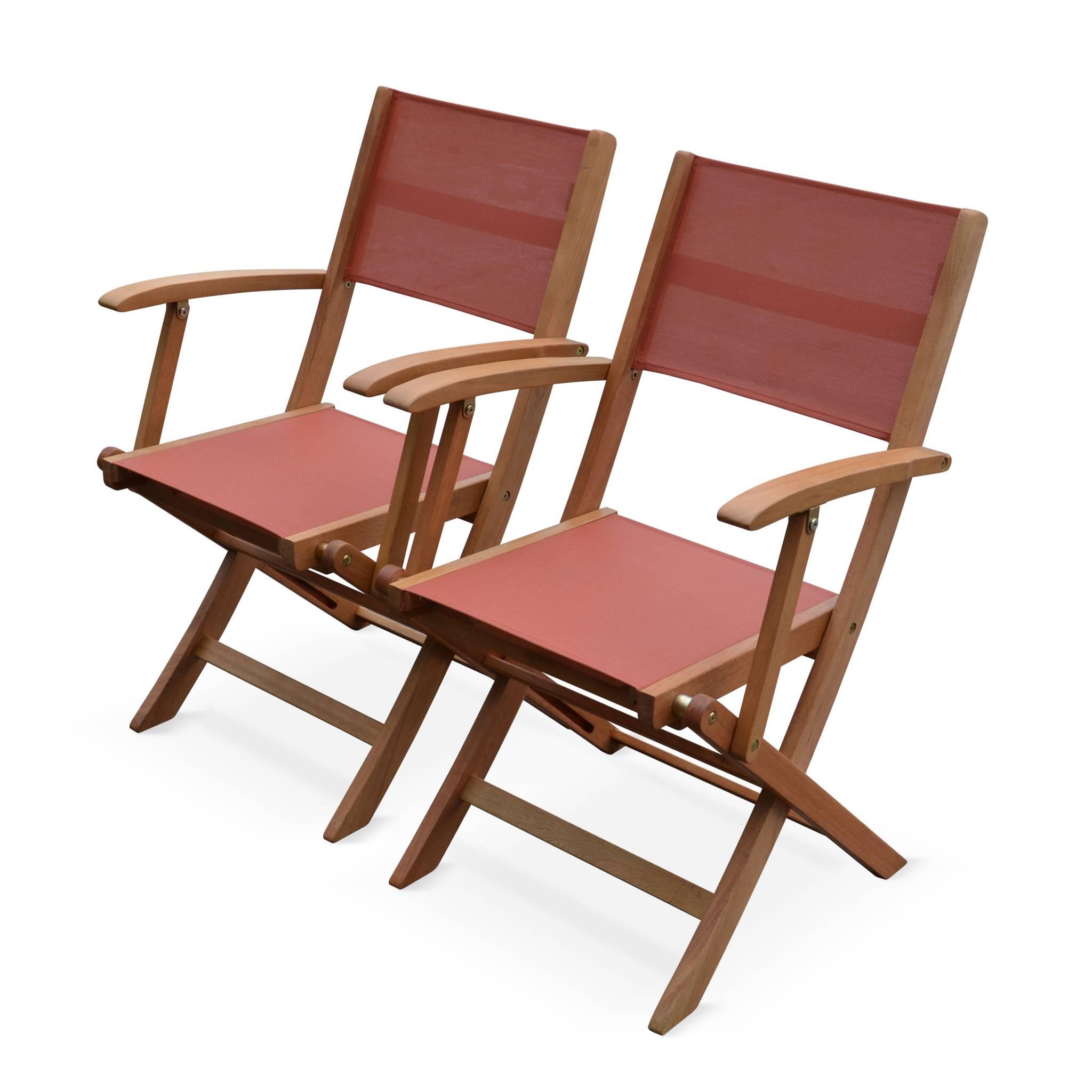 Lot de 2 fauteuils de jardin en bois terracotta