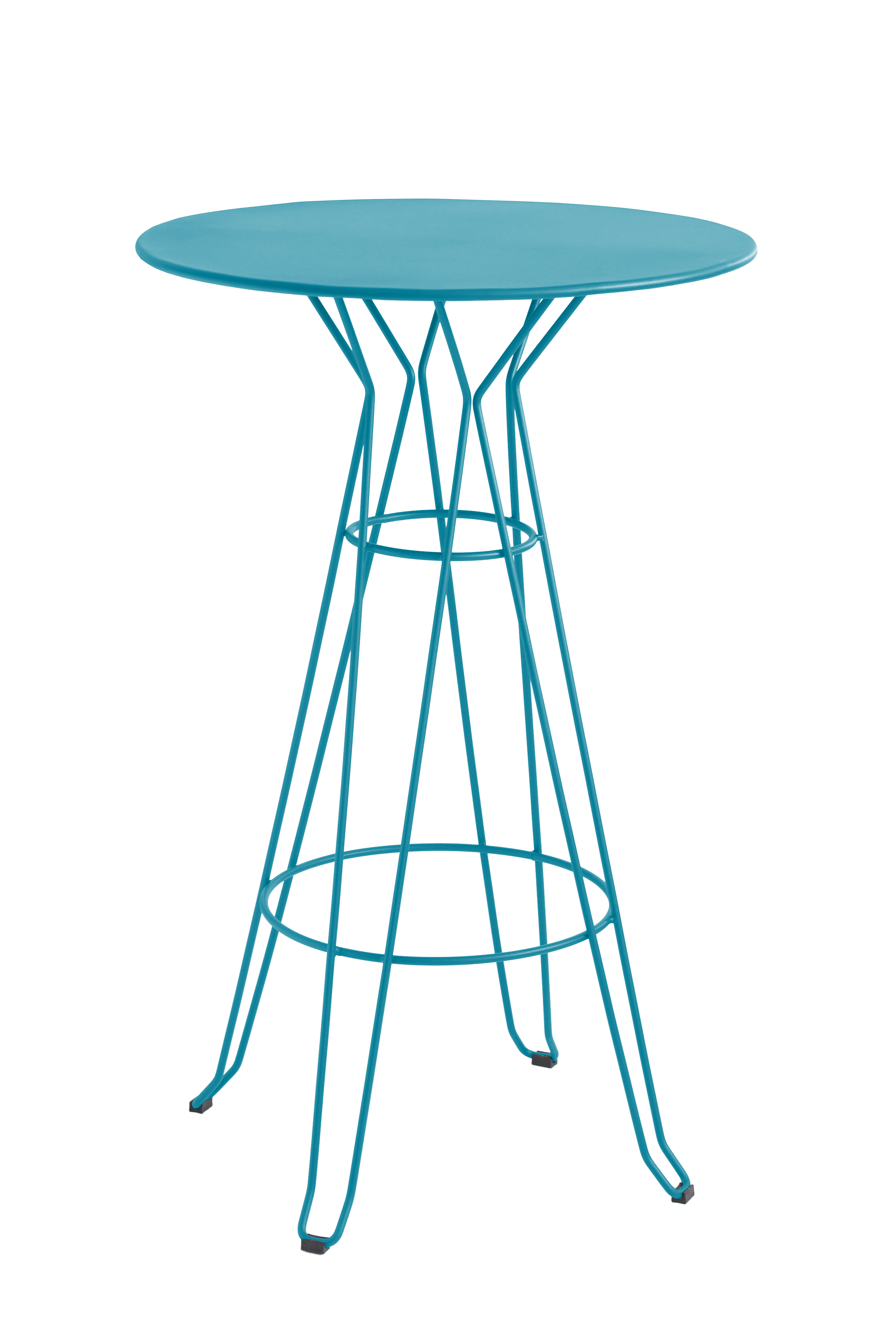 CAPRI - Table rond haute en acier bleu D80