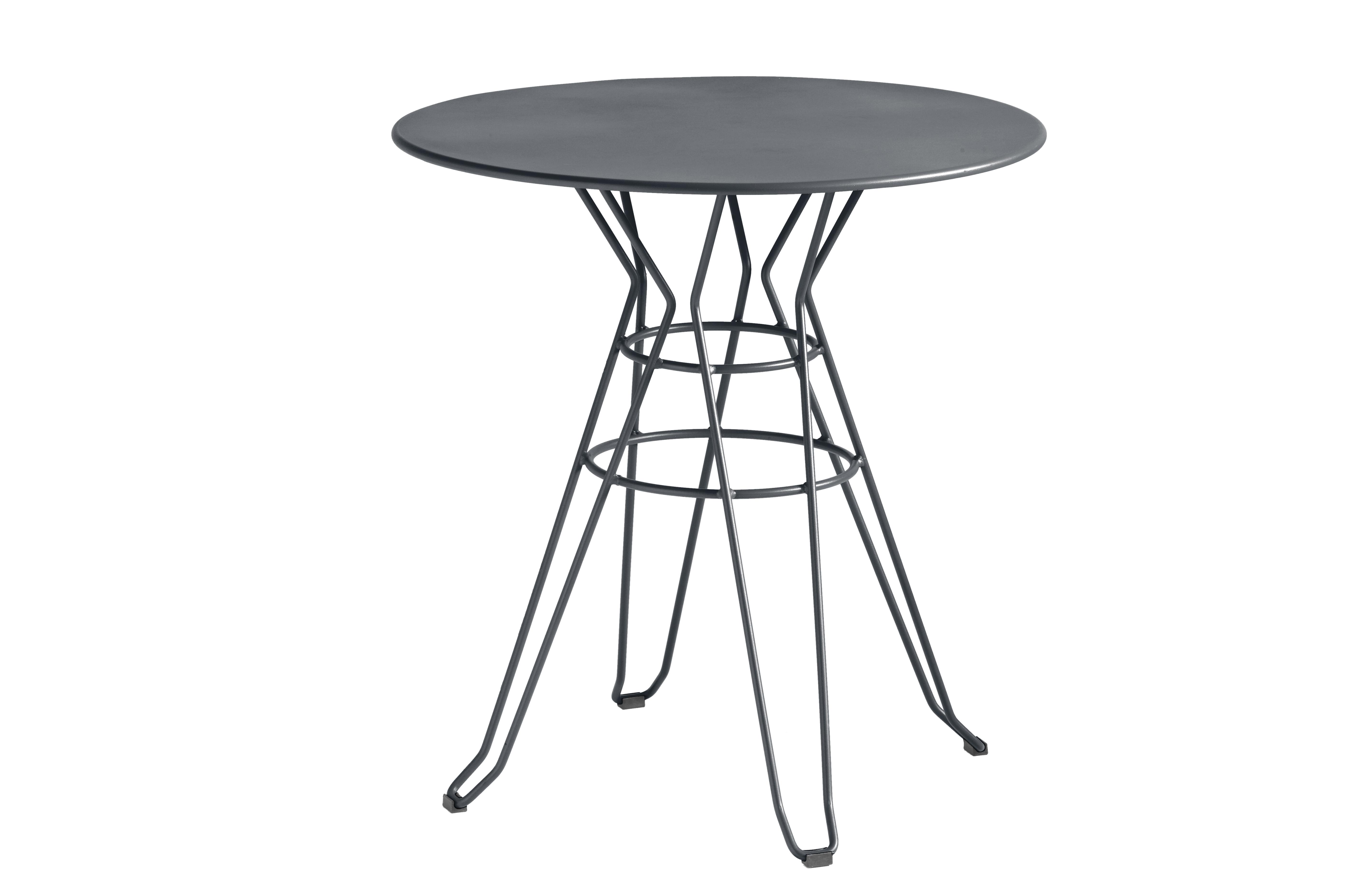 CAPRI - Table rond en acier gris anthracite D80