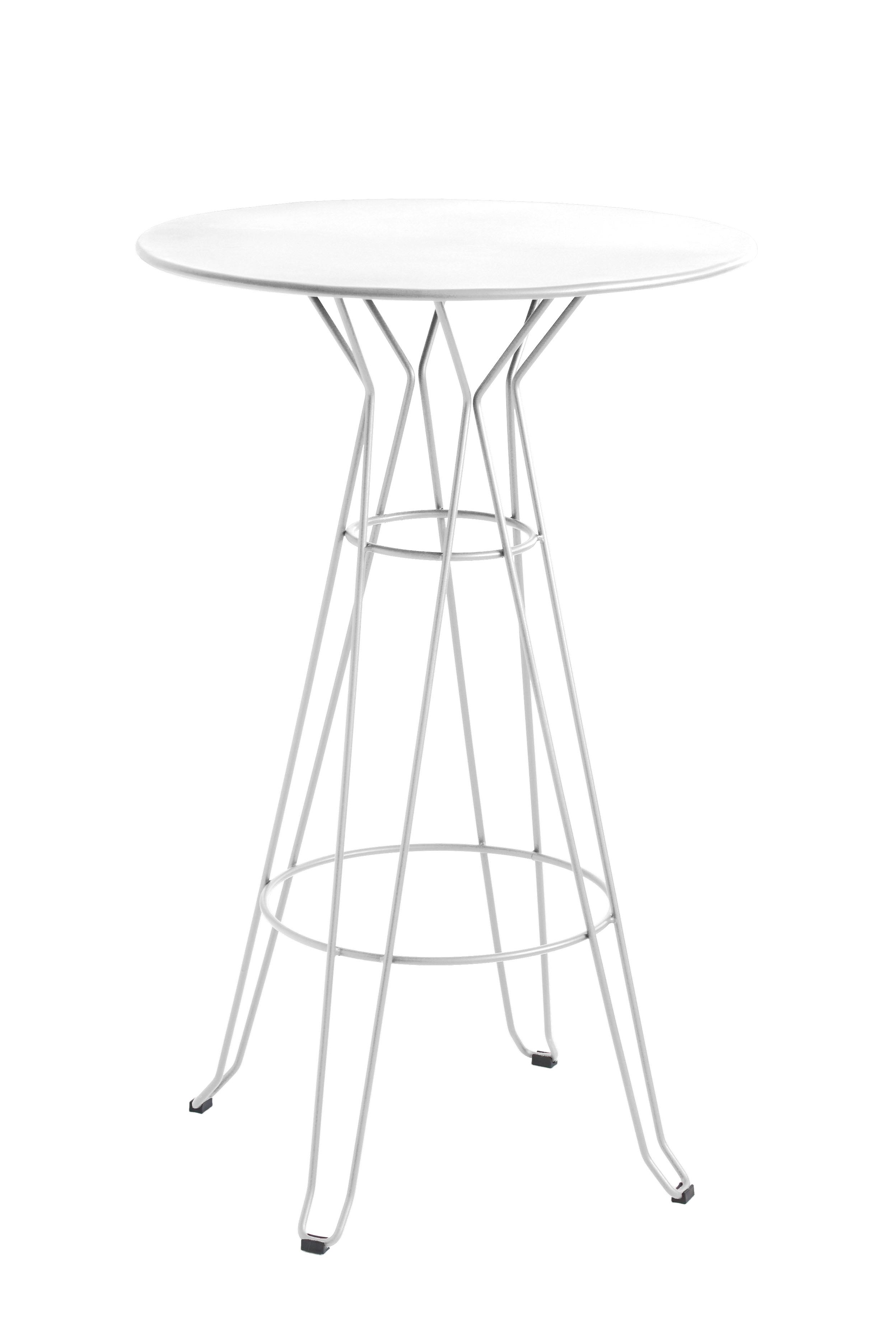 CAPRI - Table rond haute en acier blanc D80