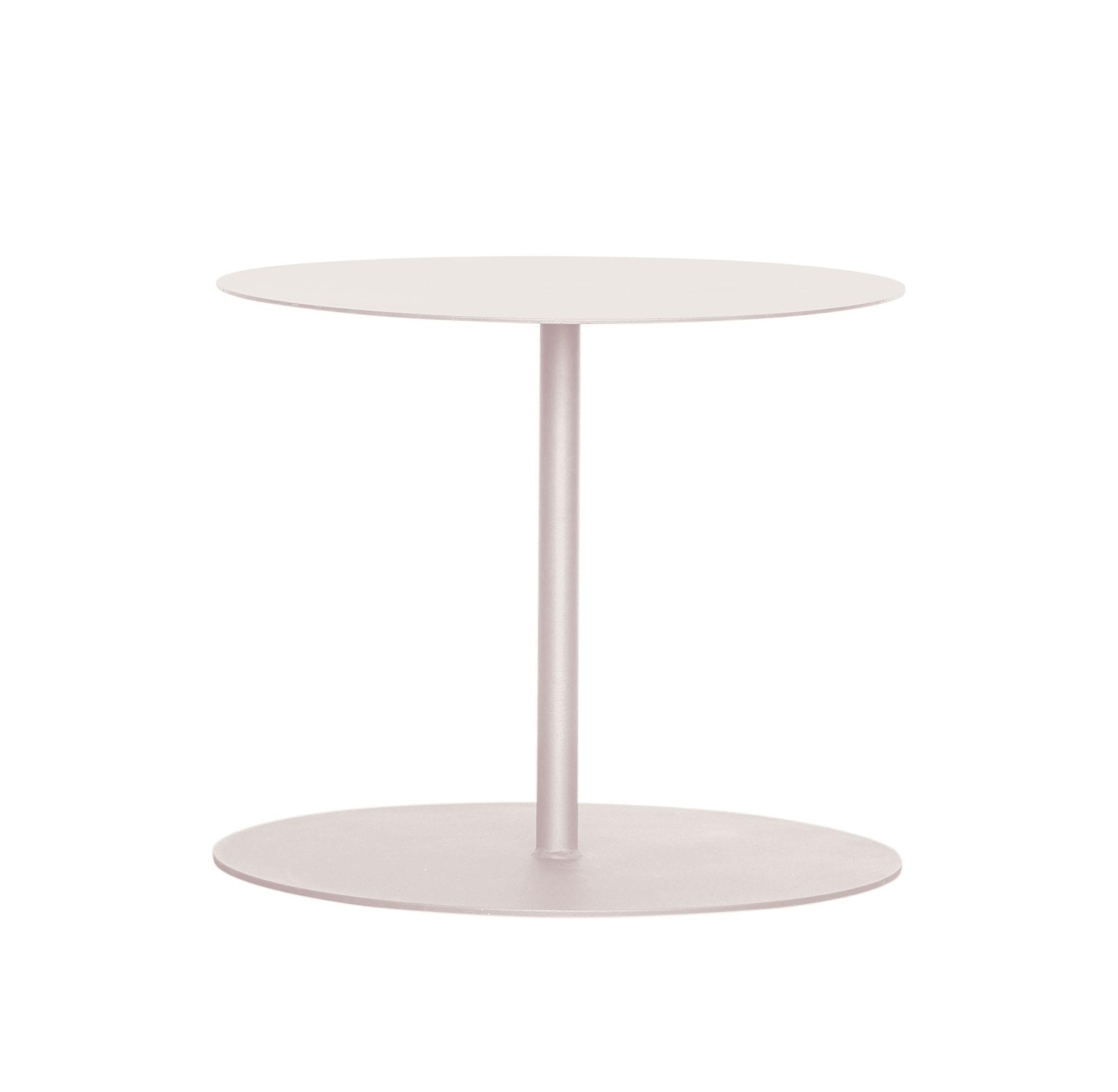 EIVISA - Table d'appoint en acier beige doré D80