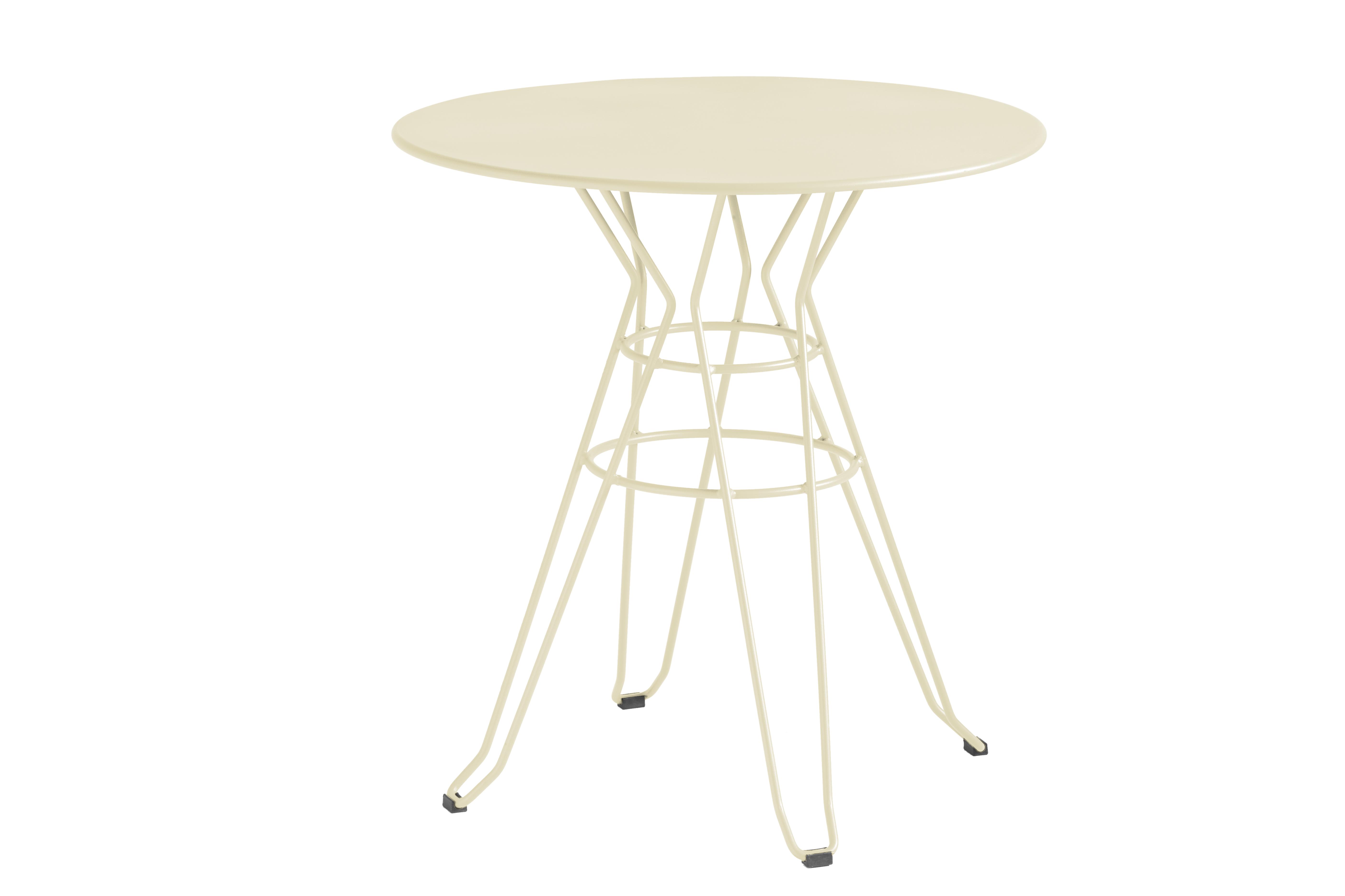 CAPRI - Table rond en acier beige D80