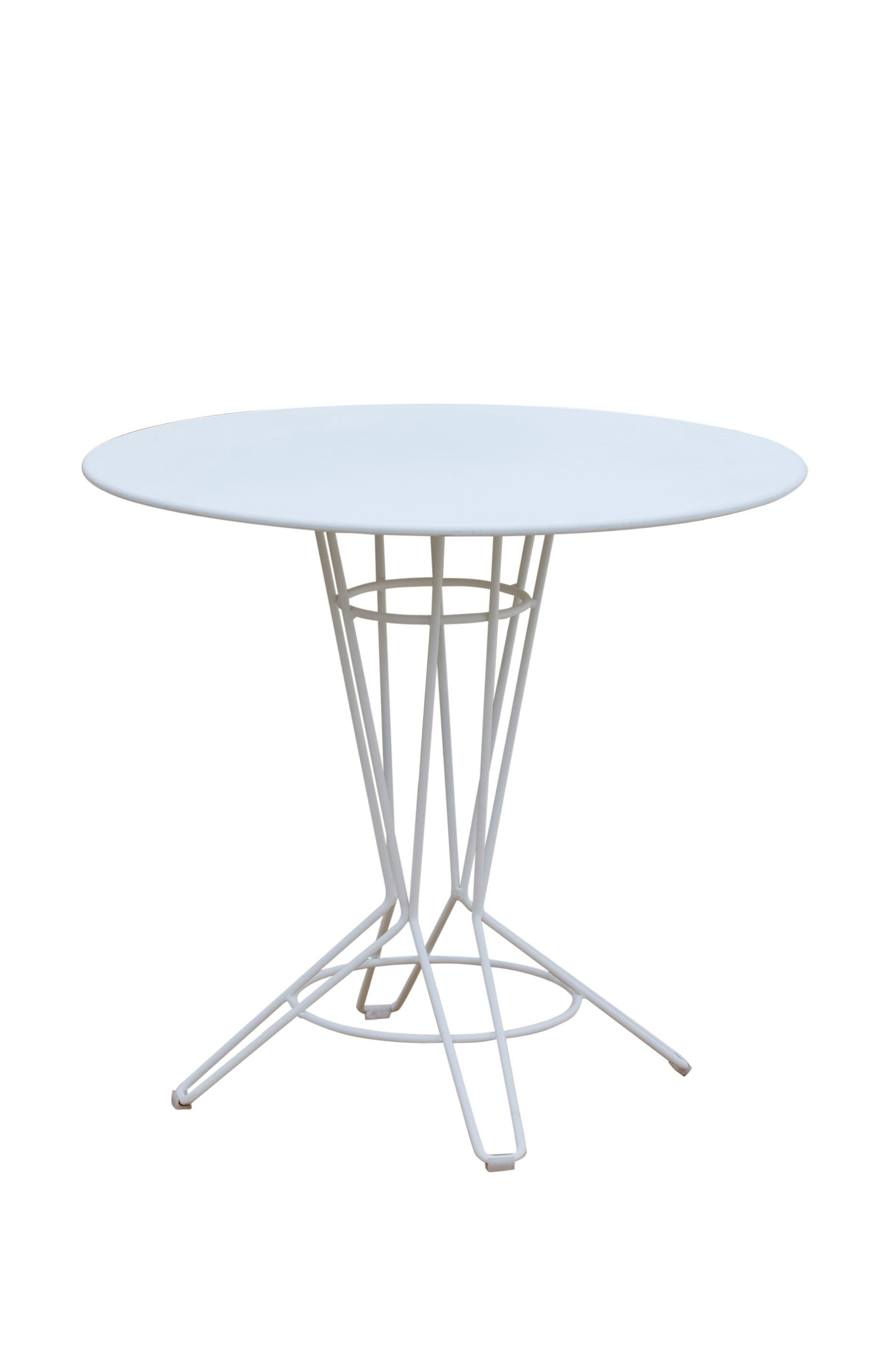 NOSTRUM - Table rond en acier blanc D80