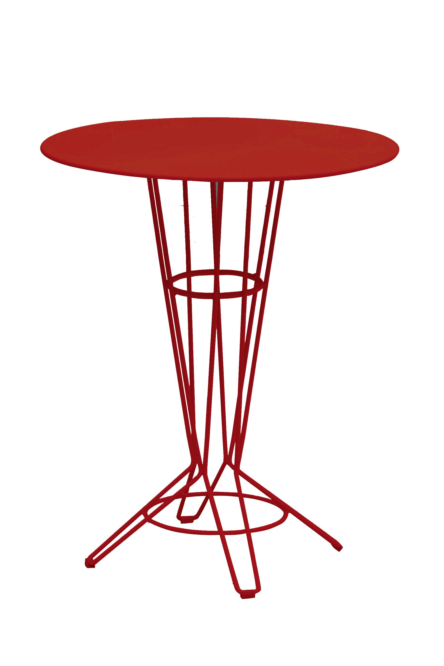 NOSTRUM - Table haute en acier rouge vin D80
