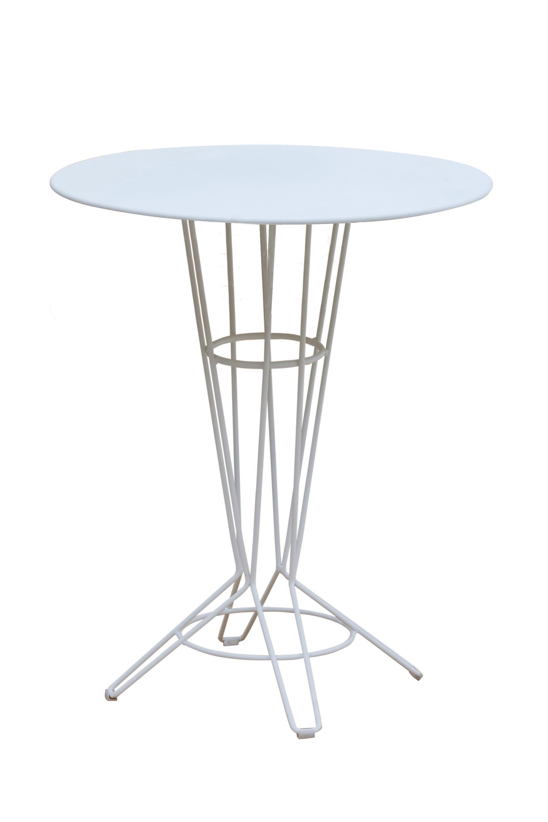 NOSTRUM - Table haute en acier blanc D80