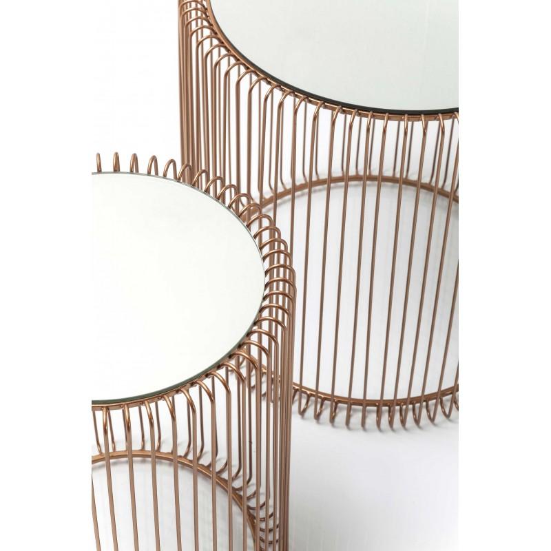 2 tables d'appoint en acier cuivré et verre miroir