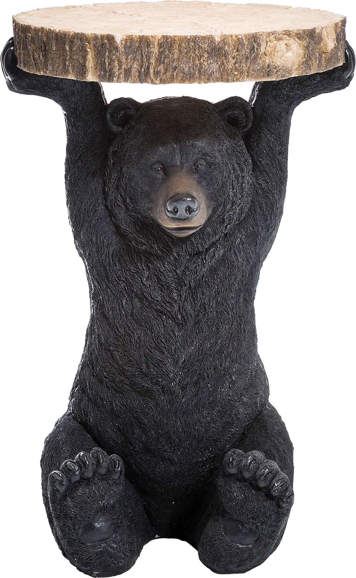 Table d'appoint ours noir en polyrésine