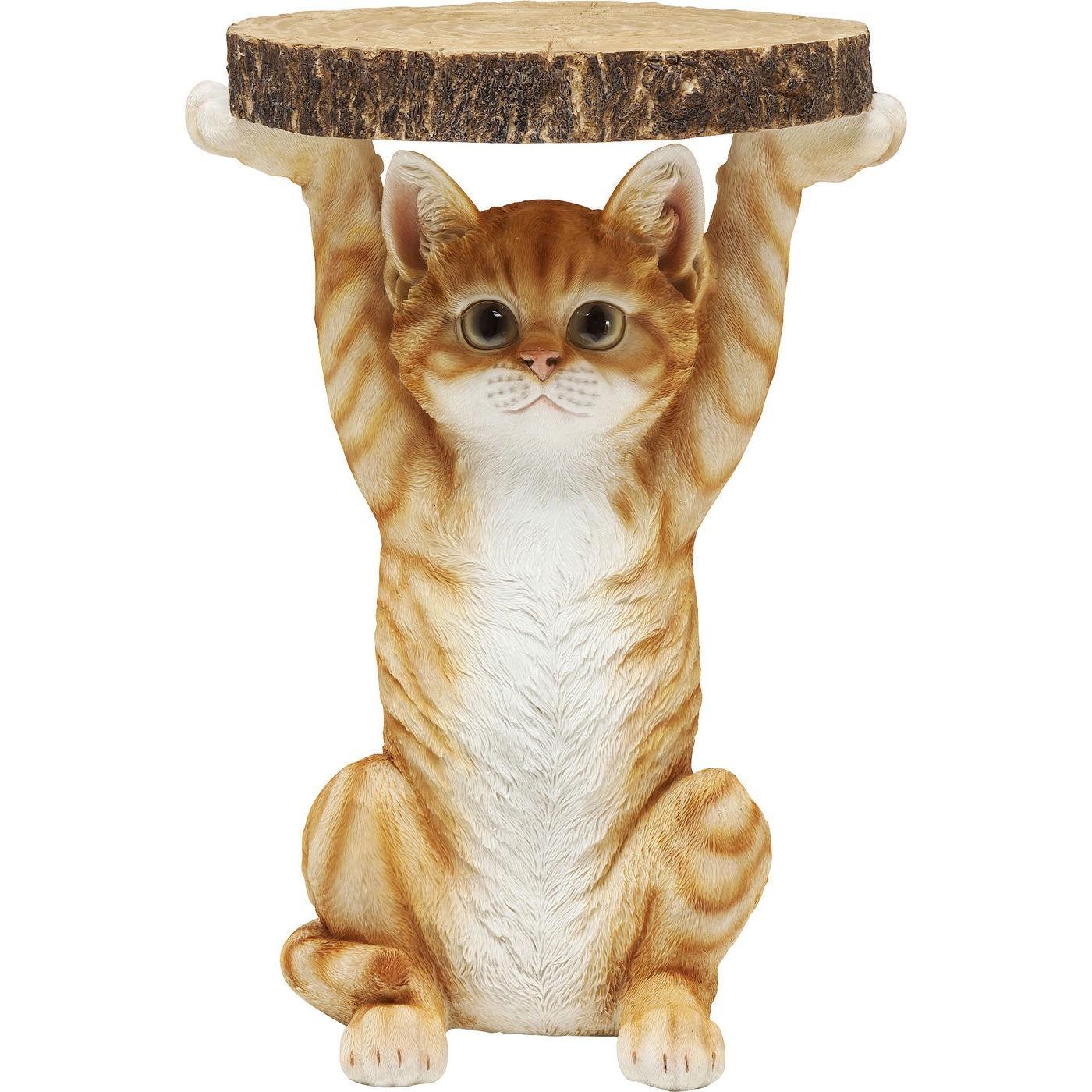 Table d'appoint chat roux et blanc en polyrésine