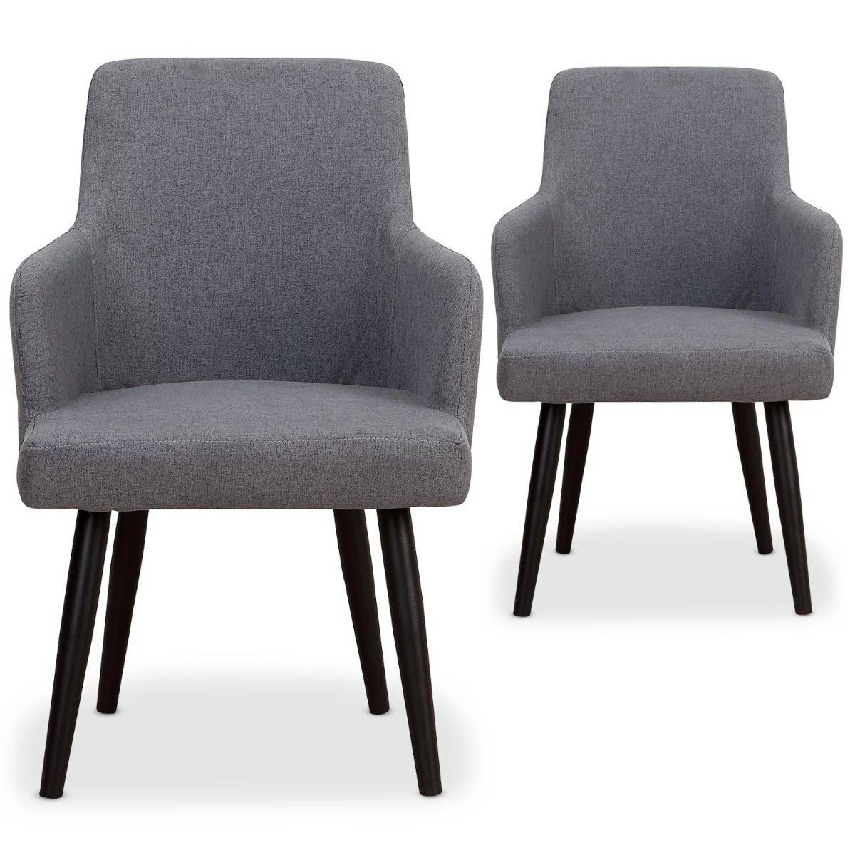 Lot de 2 fauteuils de table en velours gris foncé