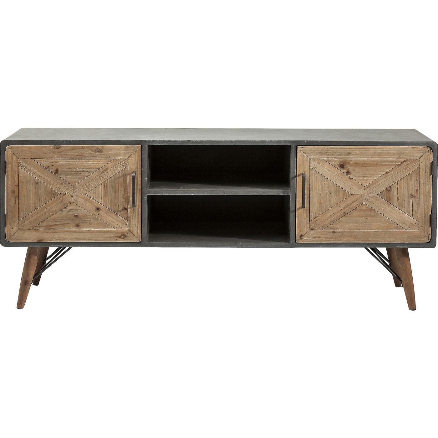 Meuble TV industriel 2 portes en bois imitation béton gris