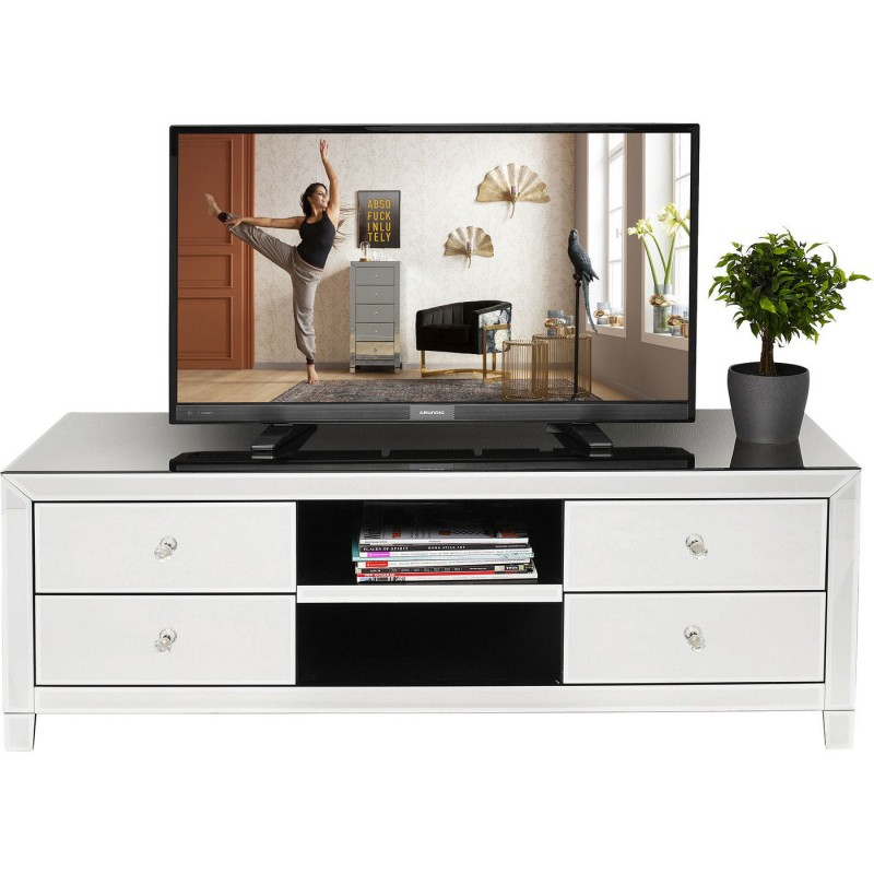 Meuble TV 4 tiroirs en verre miroir