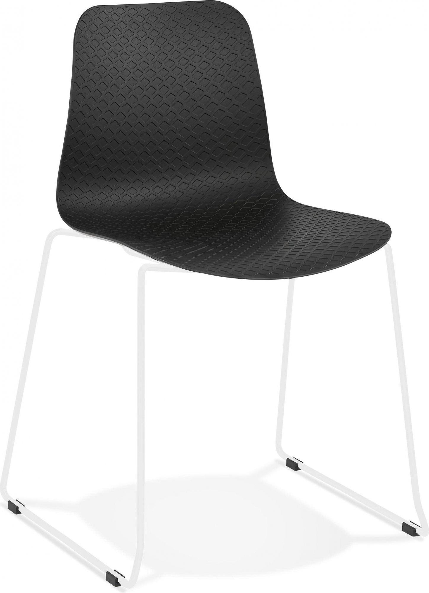 Chaise de table design assise couleur noir pieds blanc