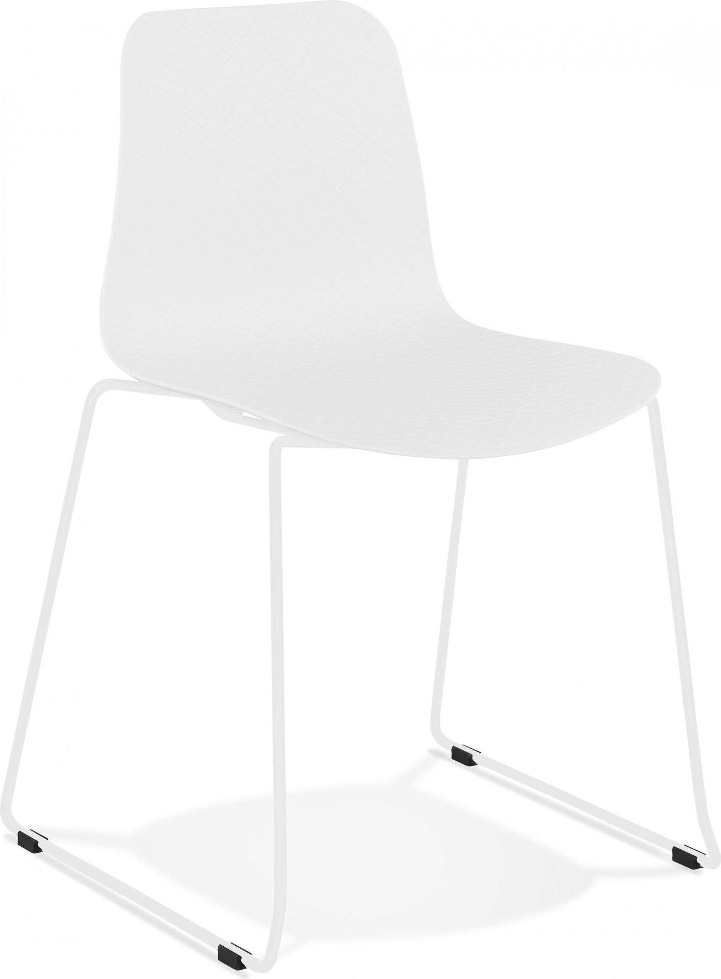 Chaise de table design assise couleur blanc pieds blanc