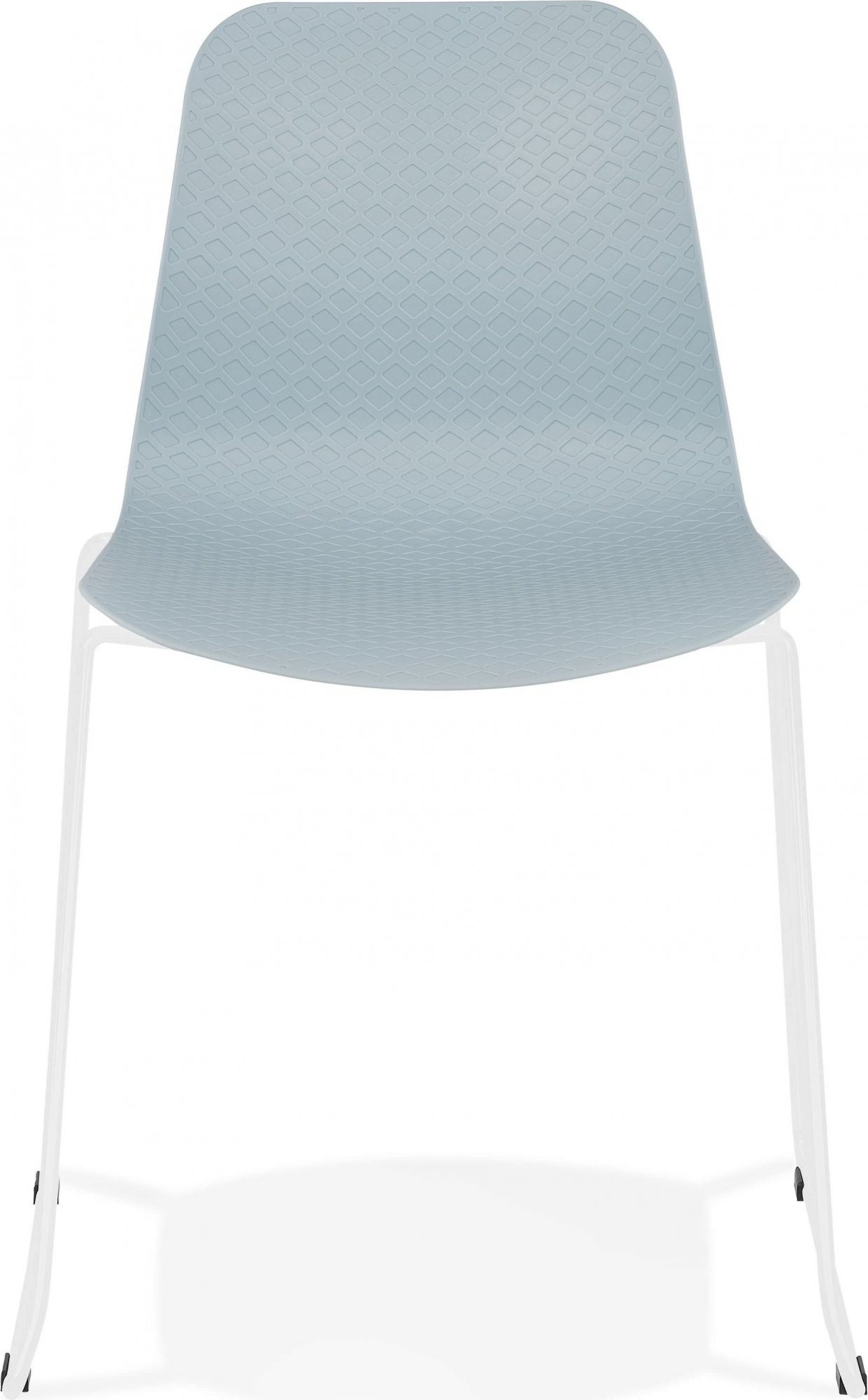 Chaise de table design assise couleur bleu pieds blanc