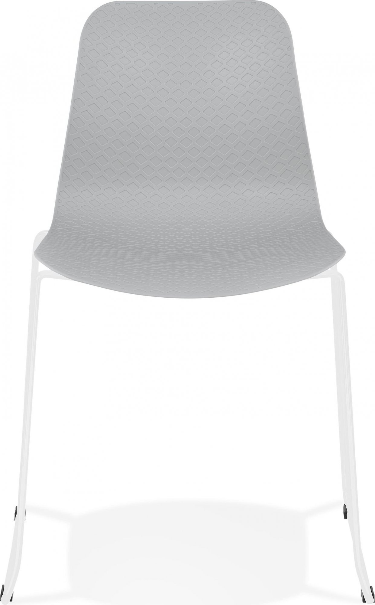 Chaise de table design assise couleur gris pieds blanc