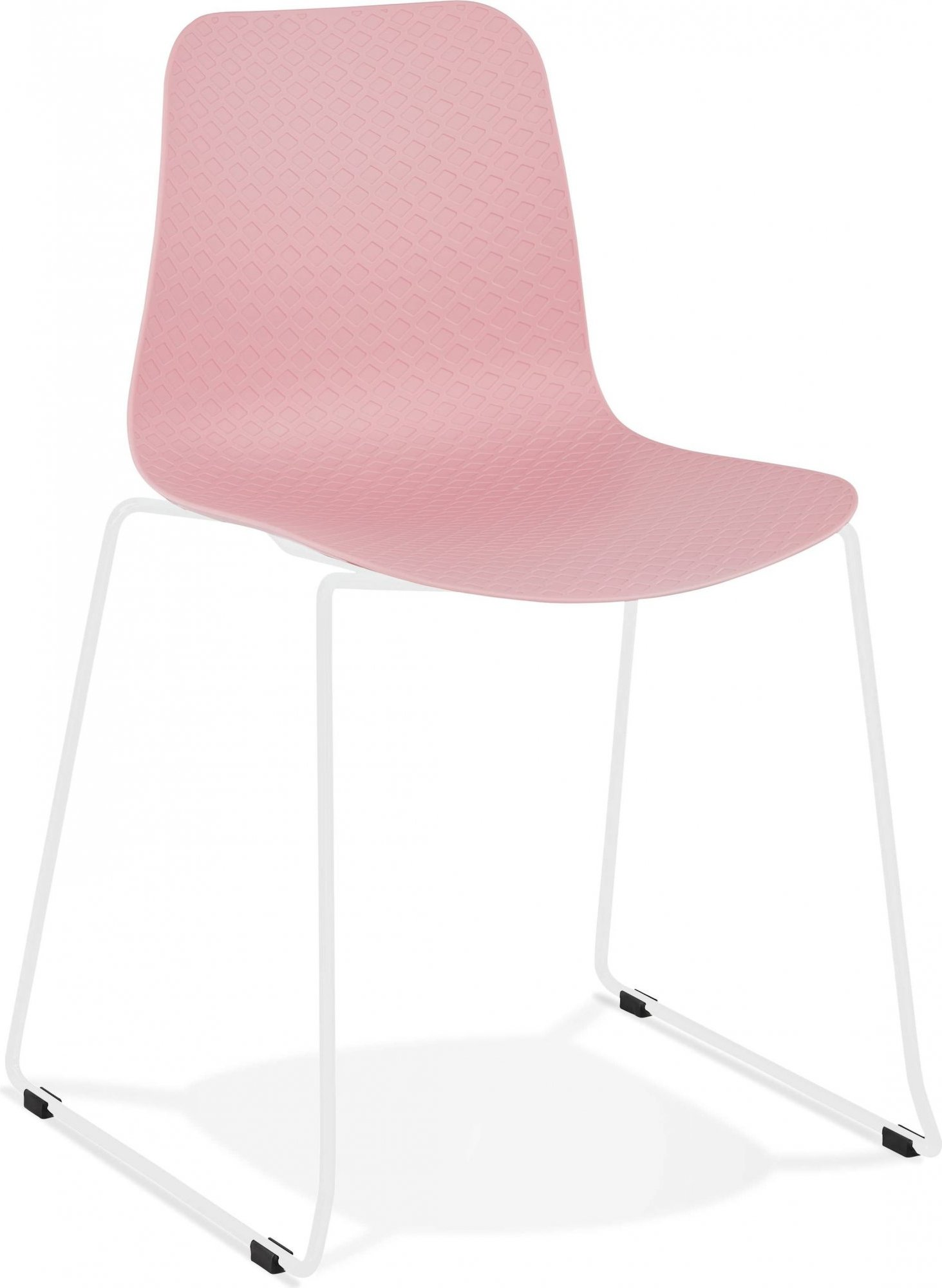 Chaise de table design assise couleur rose pieds blanc