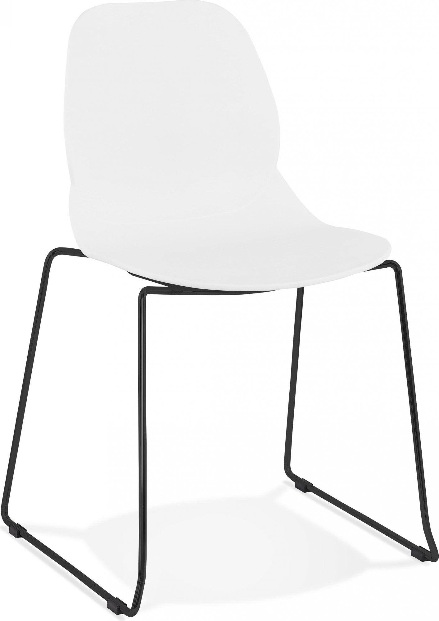 Chaise design minimaliste couleur blanc pieds noir