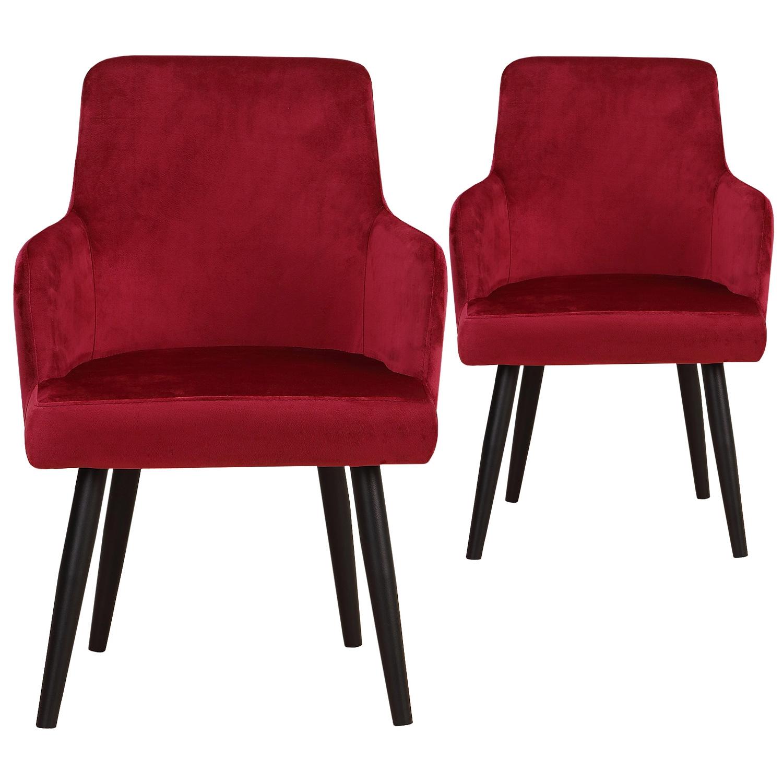 Lot de 2 fauteuils de table en velours rouge