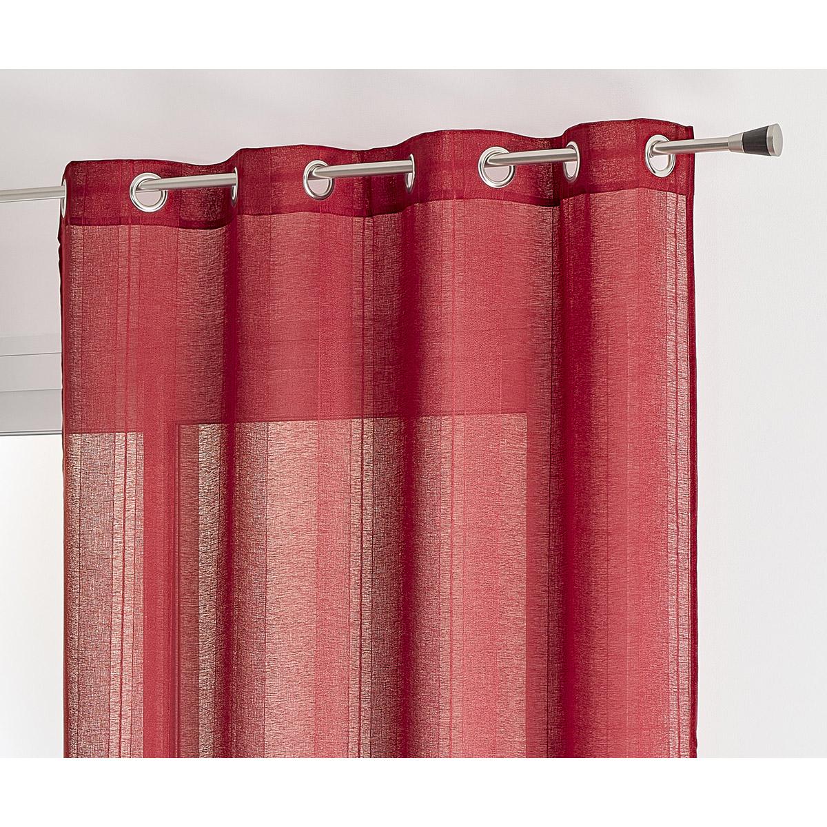 Voilage uni à rayures fantaisie polyester rubis 240x140