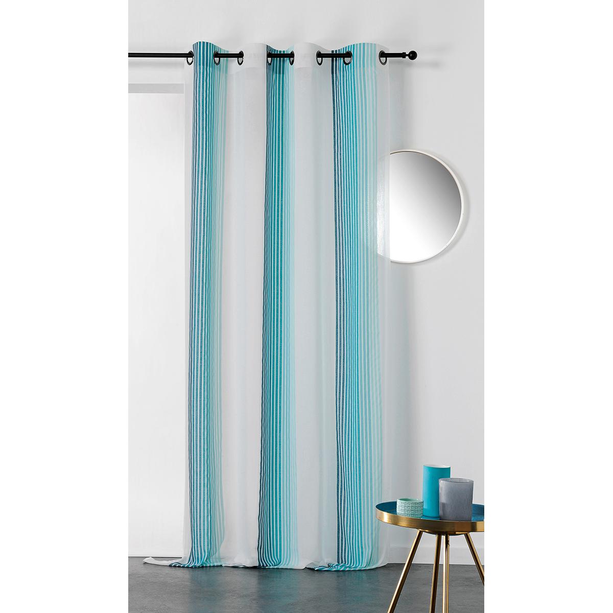 Voilage imprimé à rayures verticales colorées polyester bleu 280x145