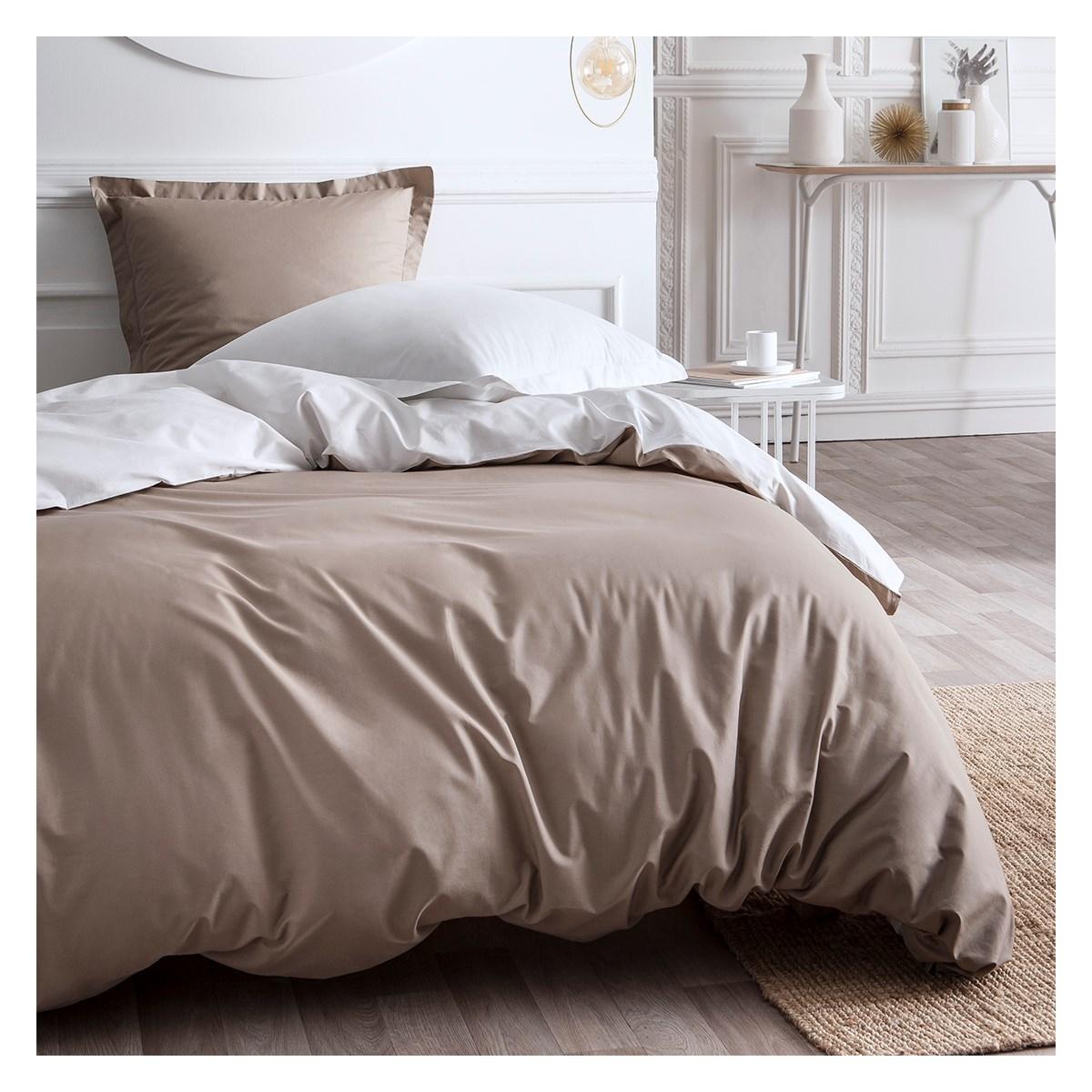 Parure de lit bicolore en Percale de coton Beige 220x240 cm