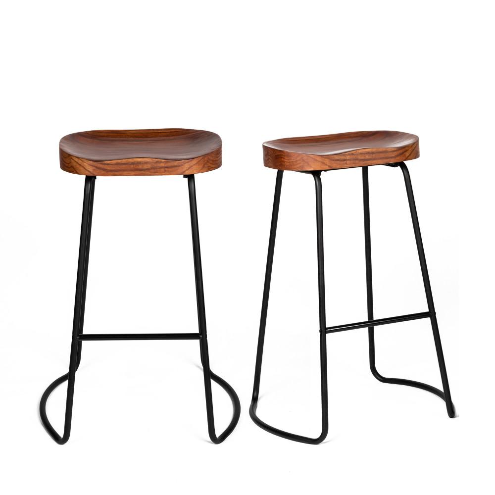 2 tabourets de bar 74cm bois foncé et métal noir