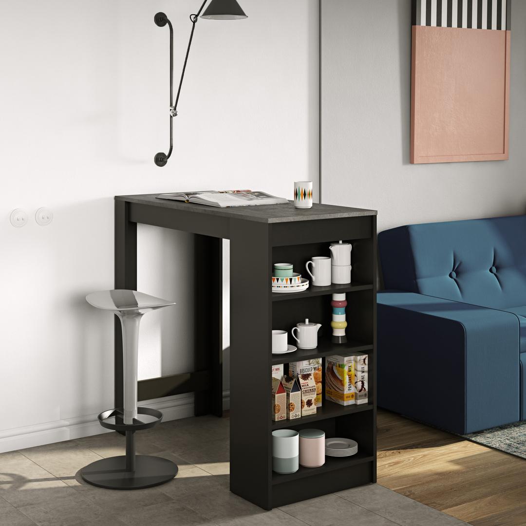 Meuble bar  effet bois Noir et Béton