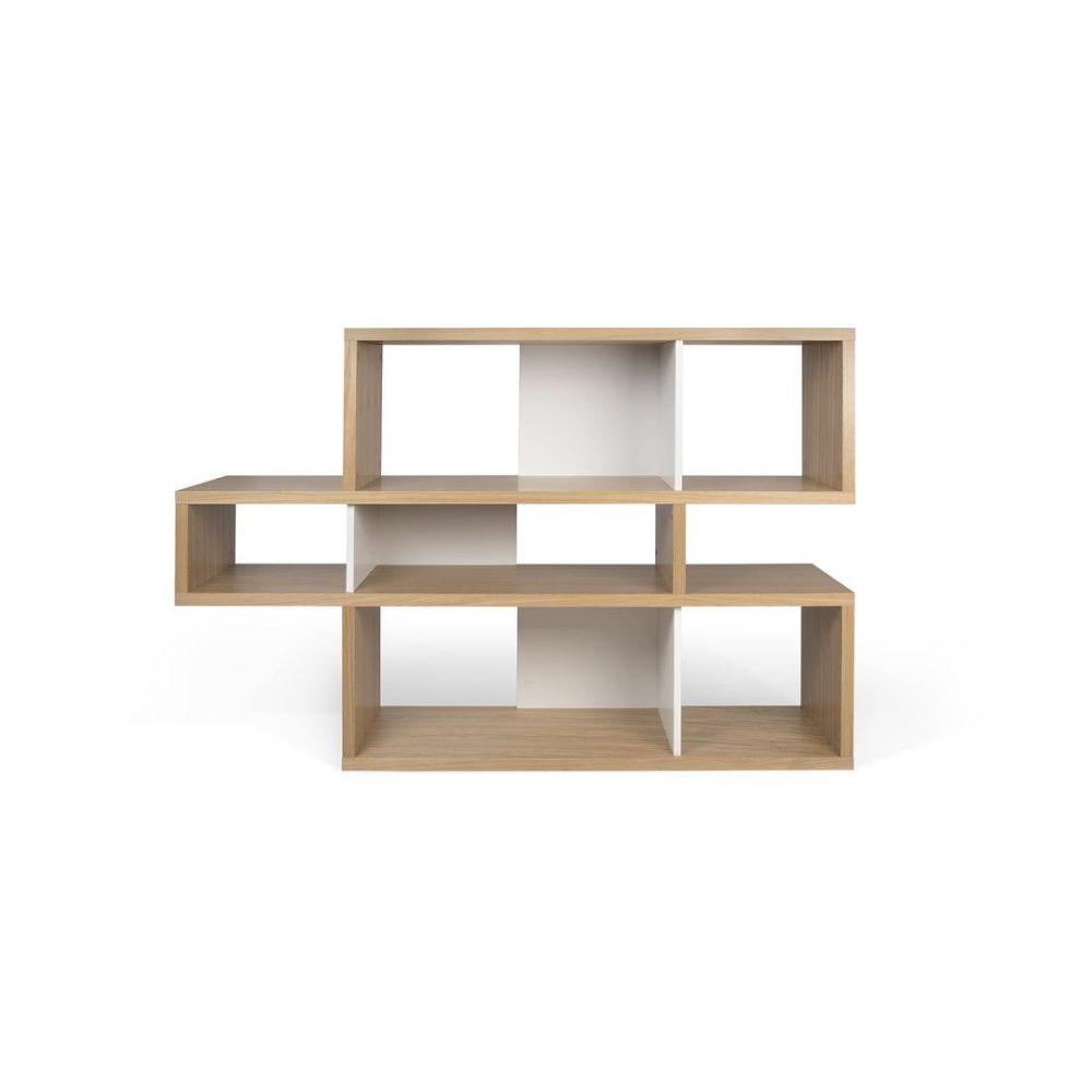Bibliothèque  effet bois Chêne naturel et Blanc