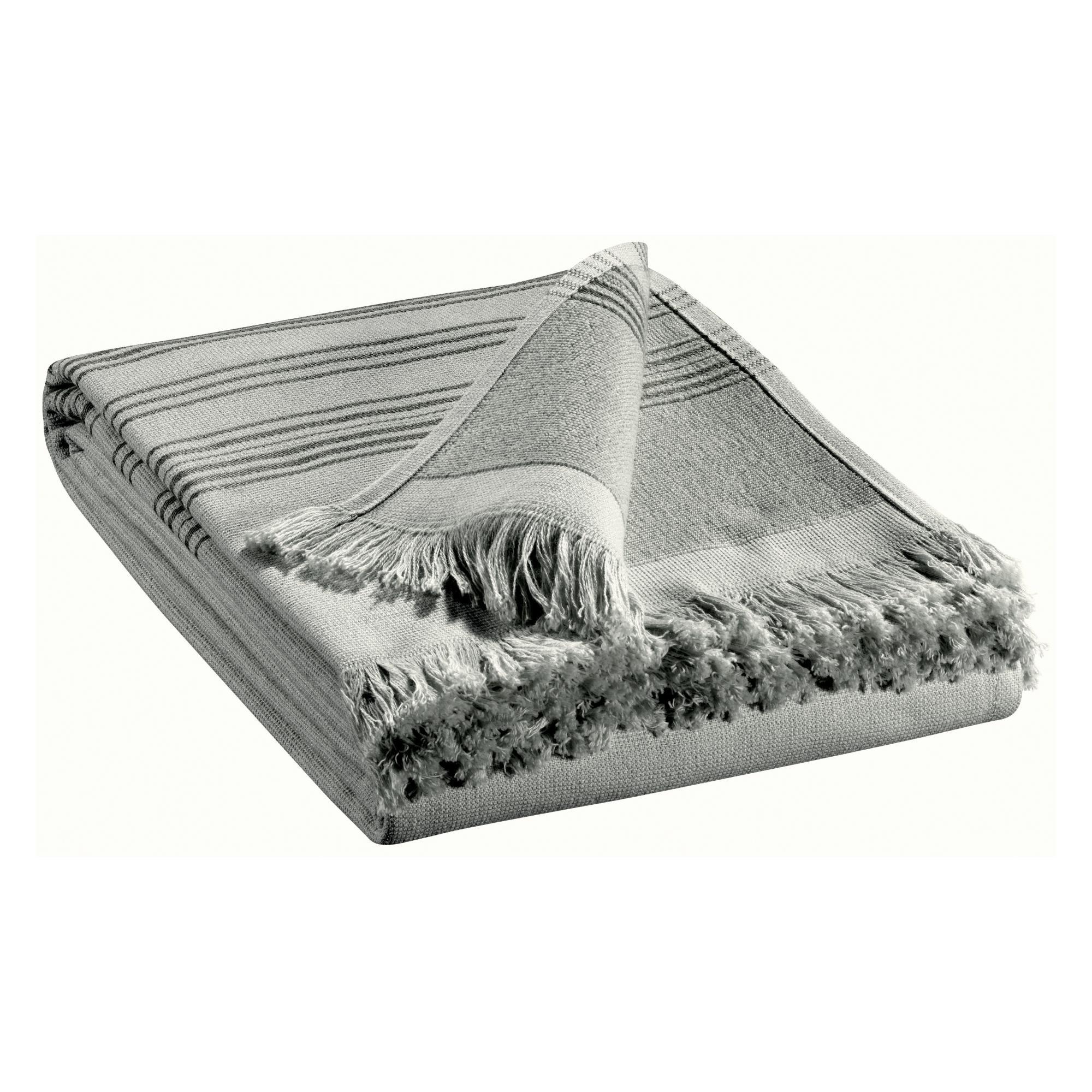 Drap de bain uni en coton gris 90x180