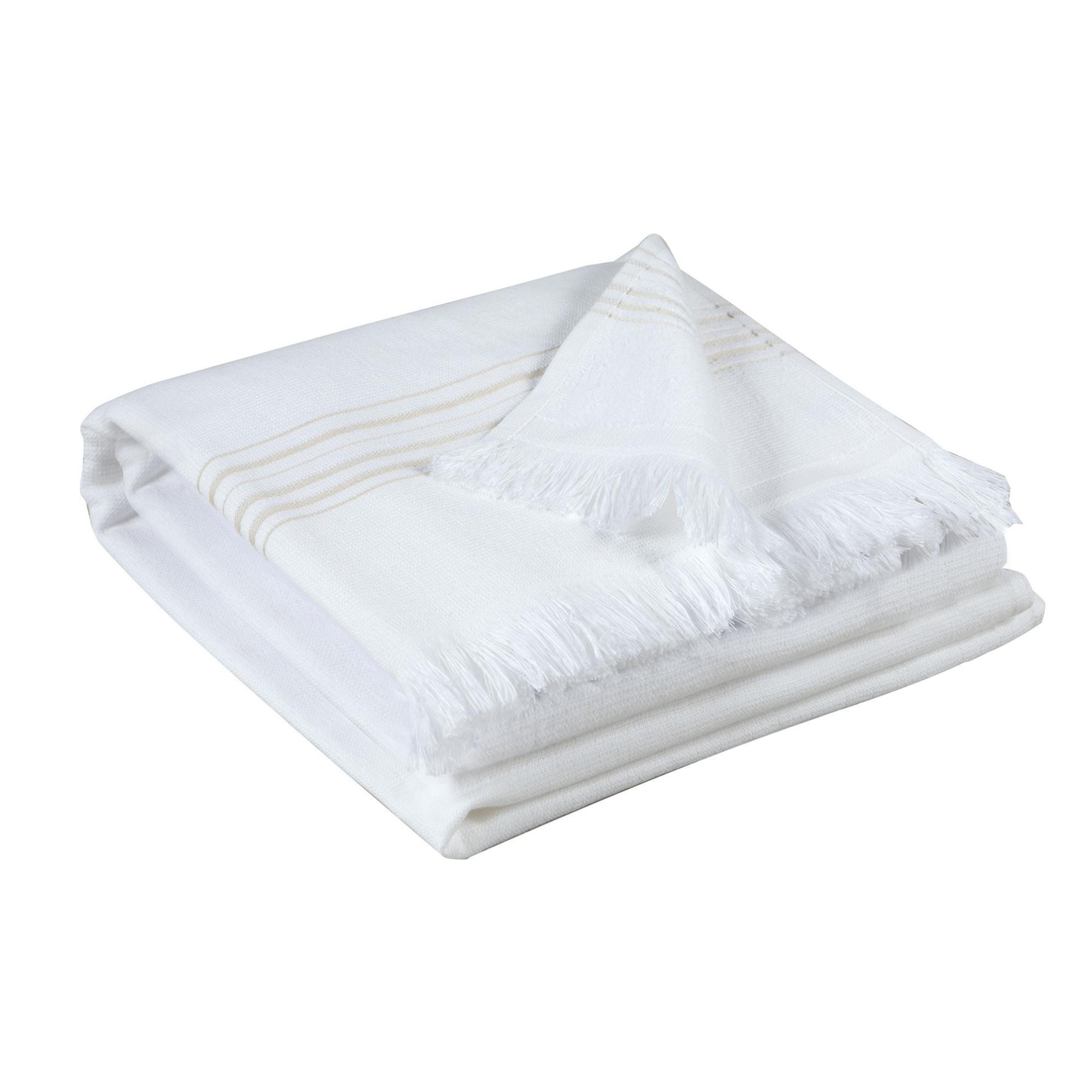 Drap de bain uni en coton beige 90x180