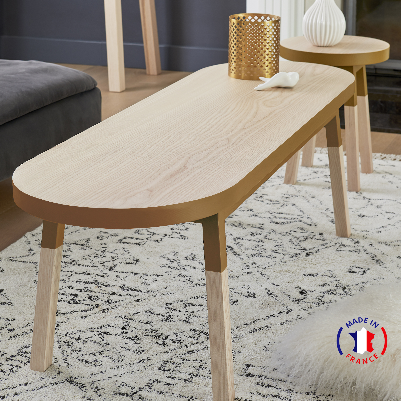 Table basse banc - 140 cm  - tabac de ruca