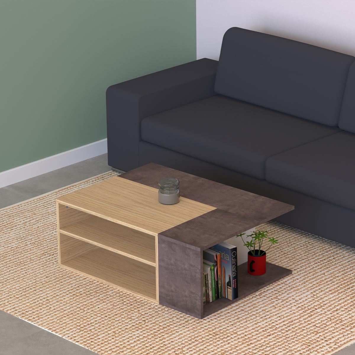 Table Basse  effet bois Chêne clair et Béton
