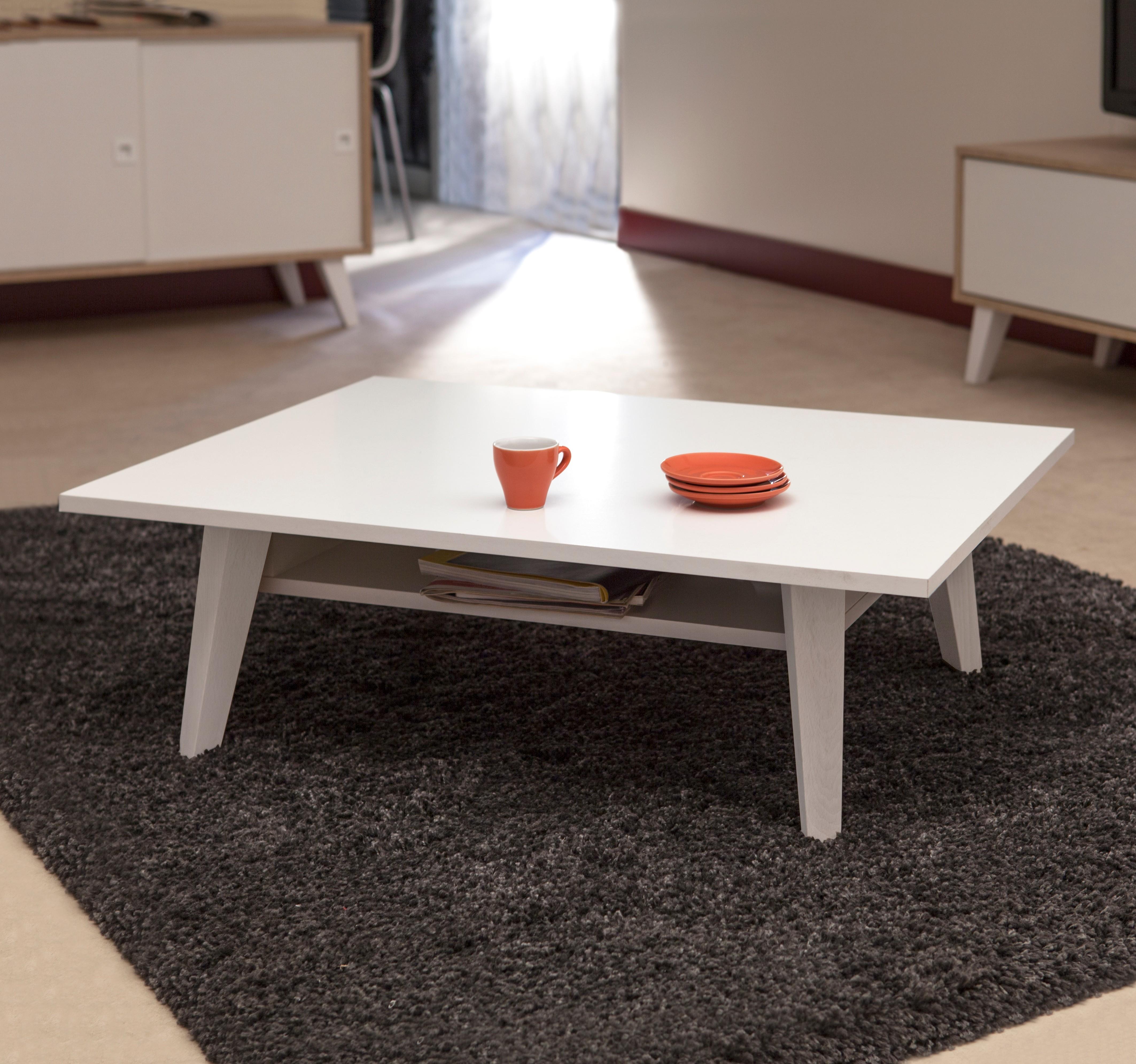 Table Basse  effet bois Blanc