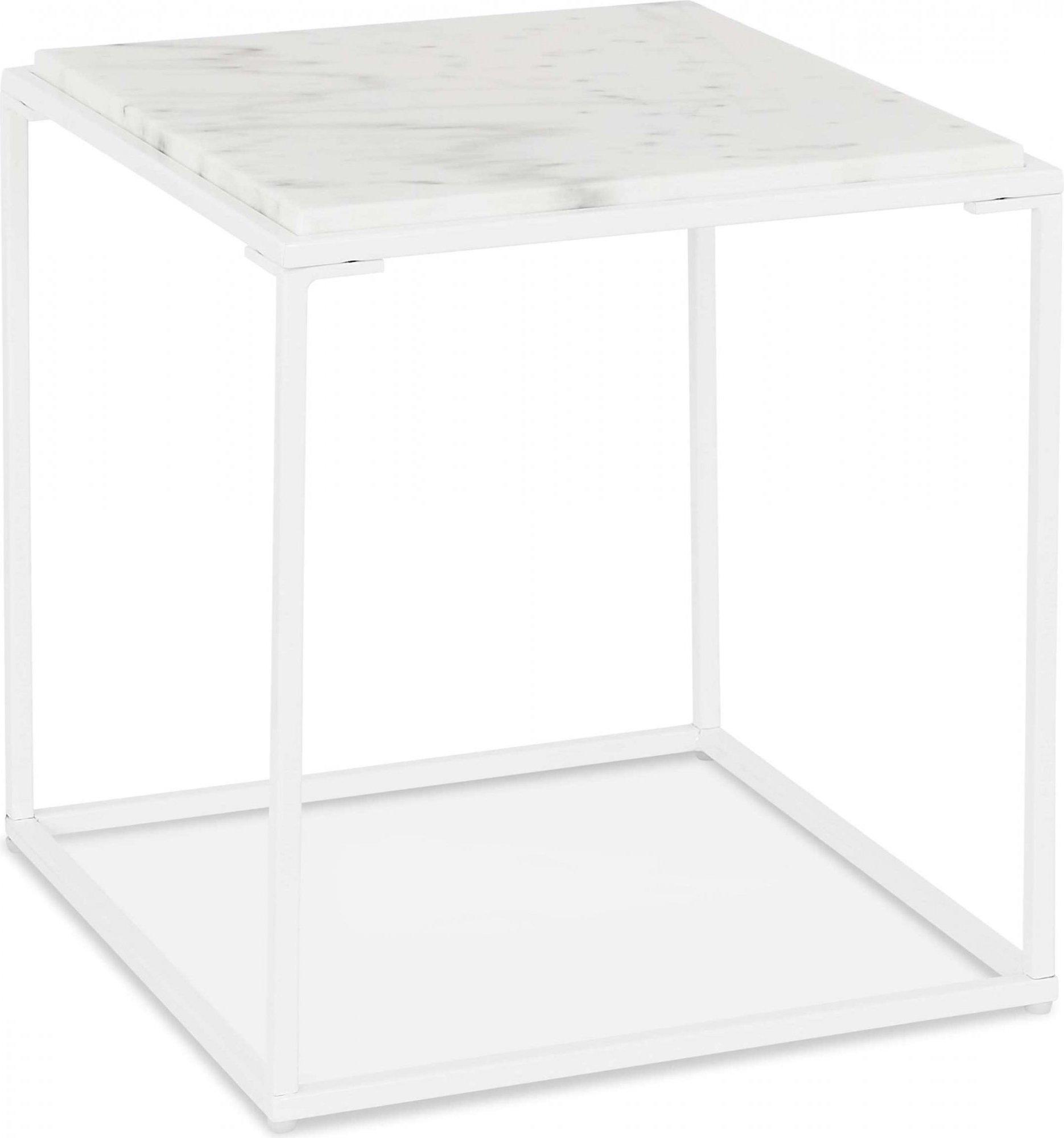 Table basse carrée plateau marbre pieds métal blanc