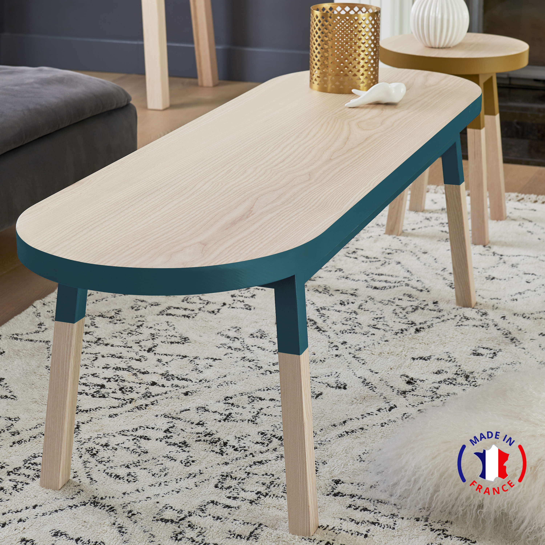 Table basse banc, 100% frêne massif bleu frehel