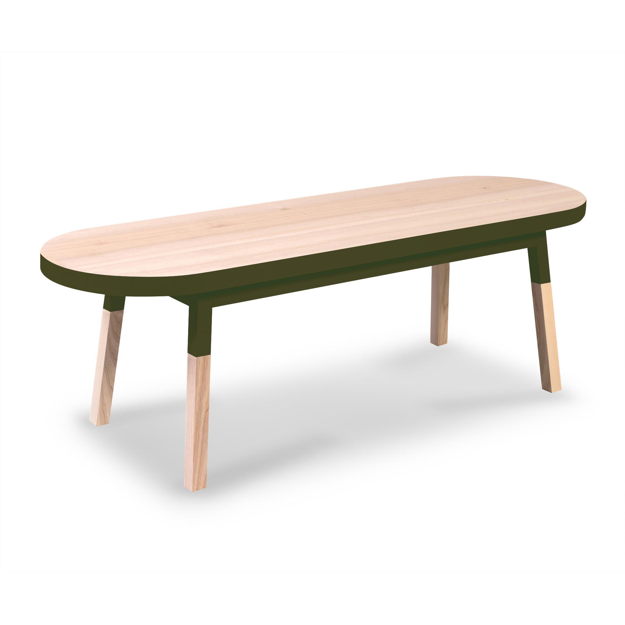 Table basse banc, 100% frêne massif vert lancieux